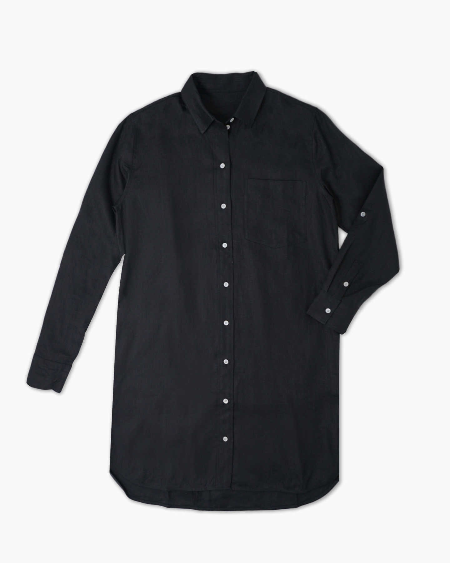 100% Organic Linen Shirt Dress - Black