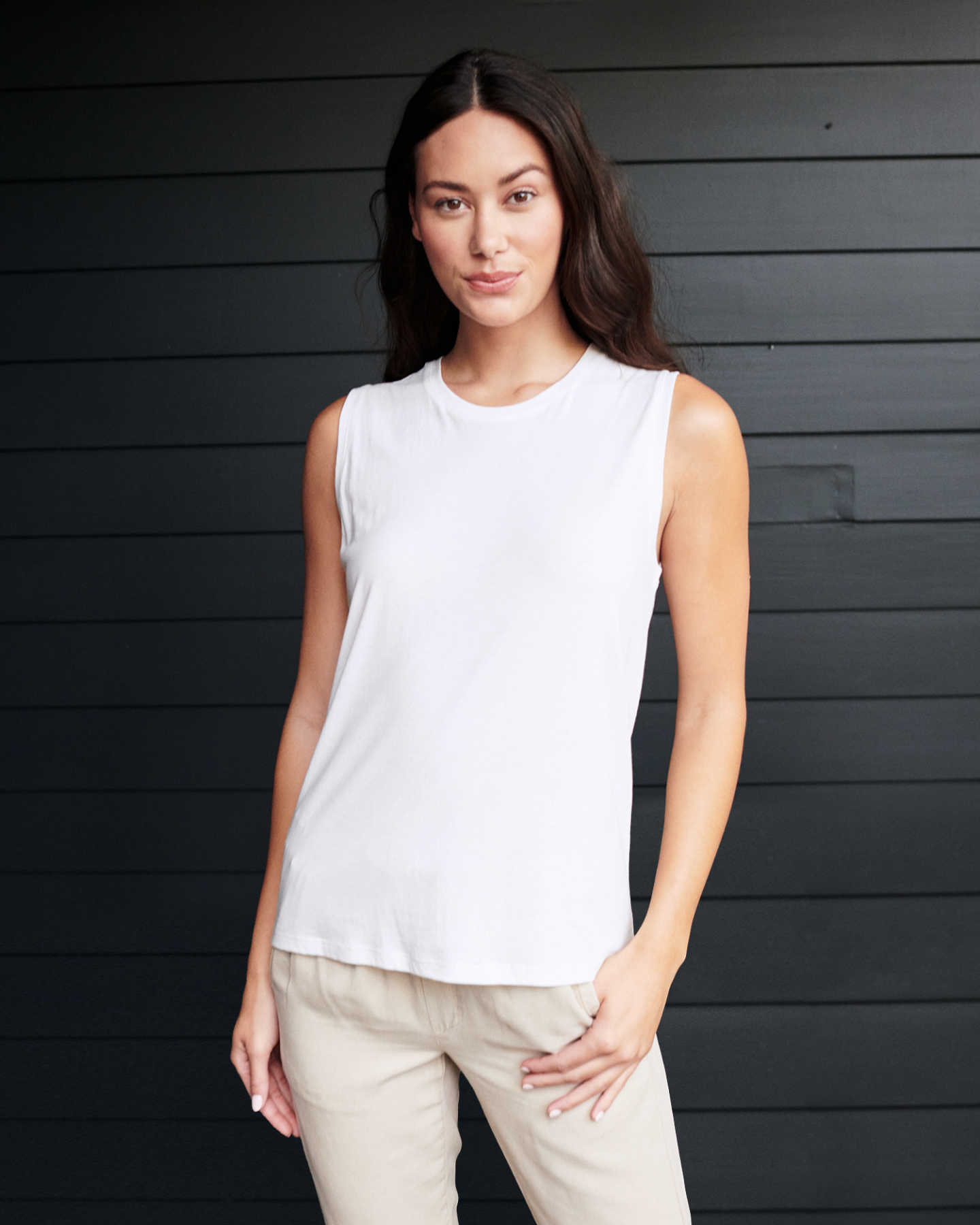 Cotton Modal Muscle Tank - White - 0