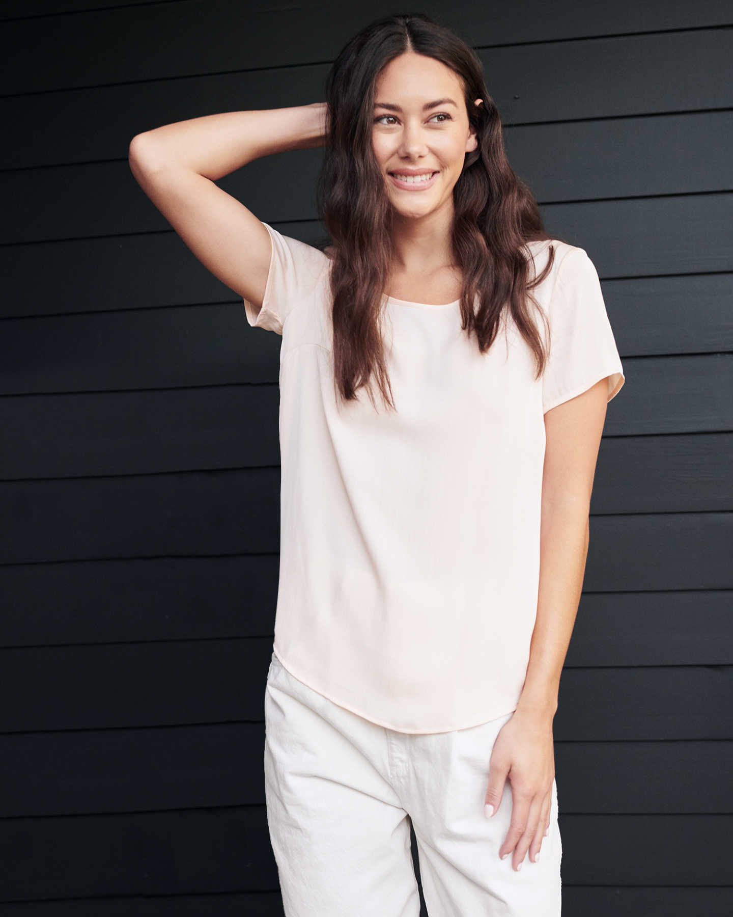 Pair With - Washable Stretch Silk Tee - Ivory