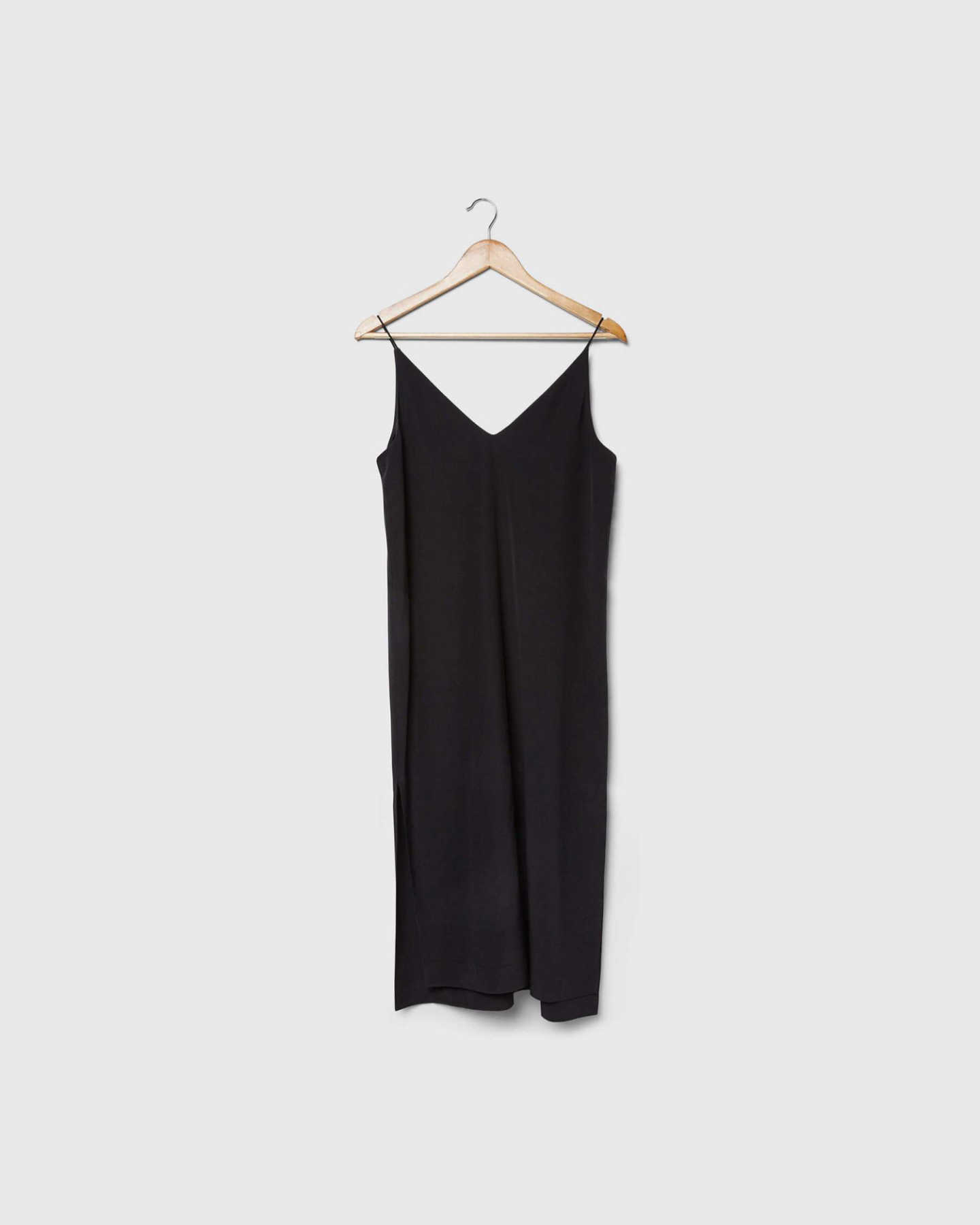 Black silk slip dress product shot