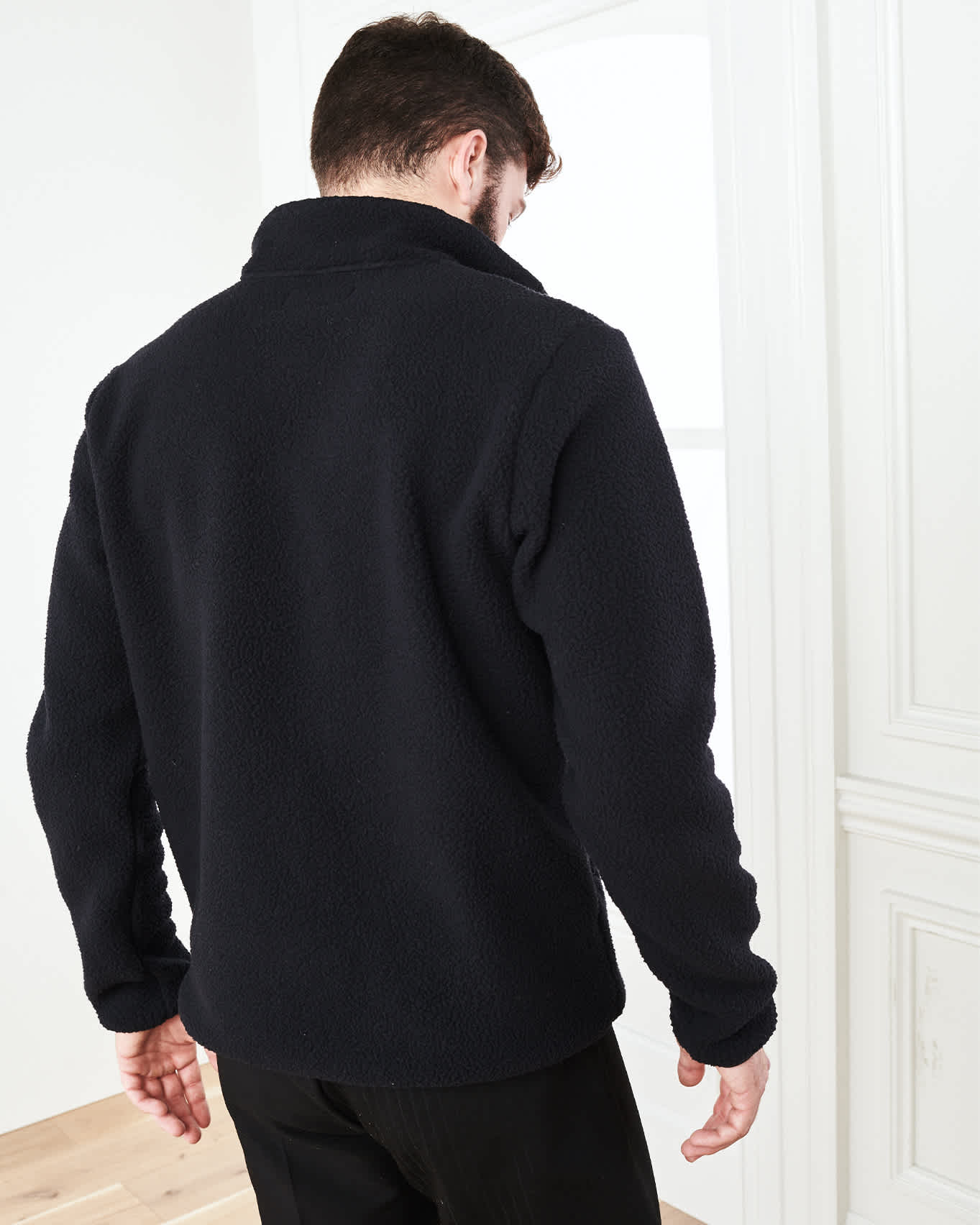 Recycled Sherpa Fleece Pullover Jacket - Black - 3