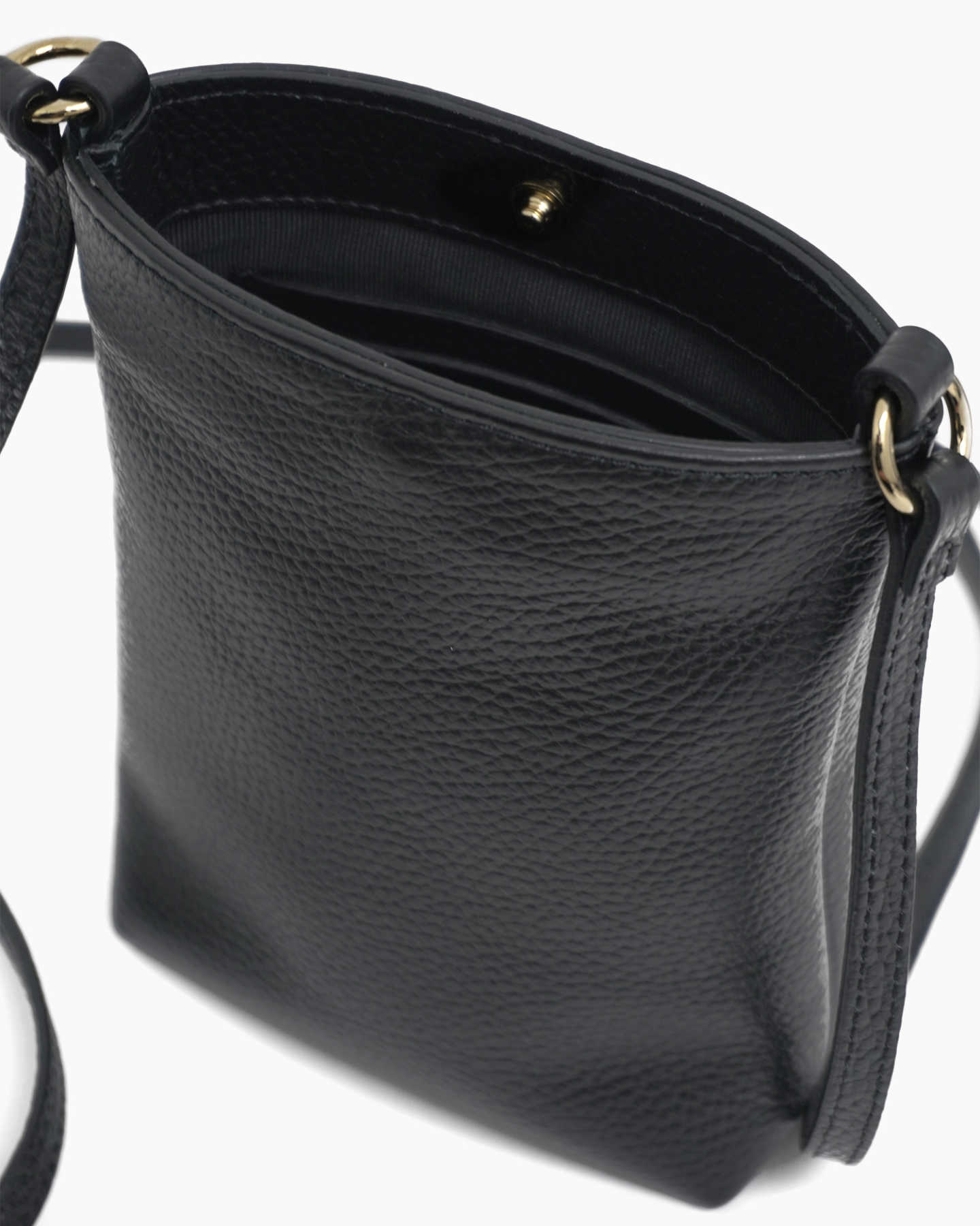 Italian Pebbled Leather Phone Crossbody - Black - 8 - Thumbnail