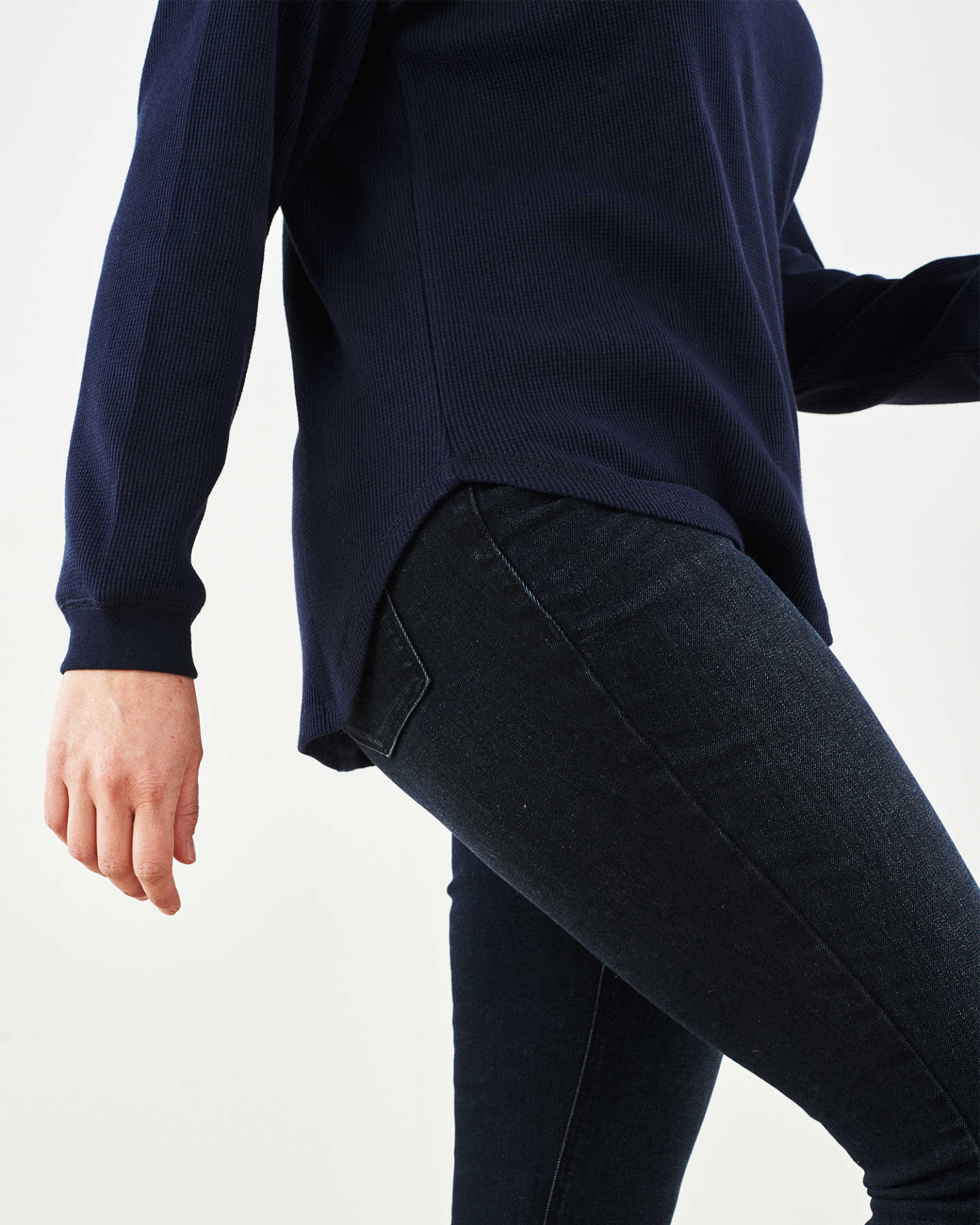 Luxe Organic Waffle Thermal Crew - Navy - 3