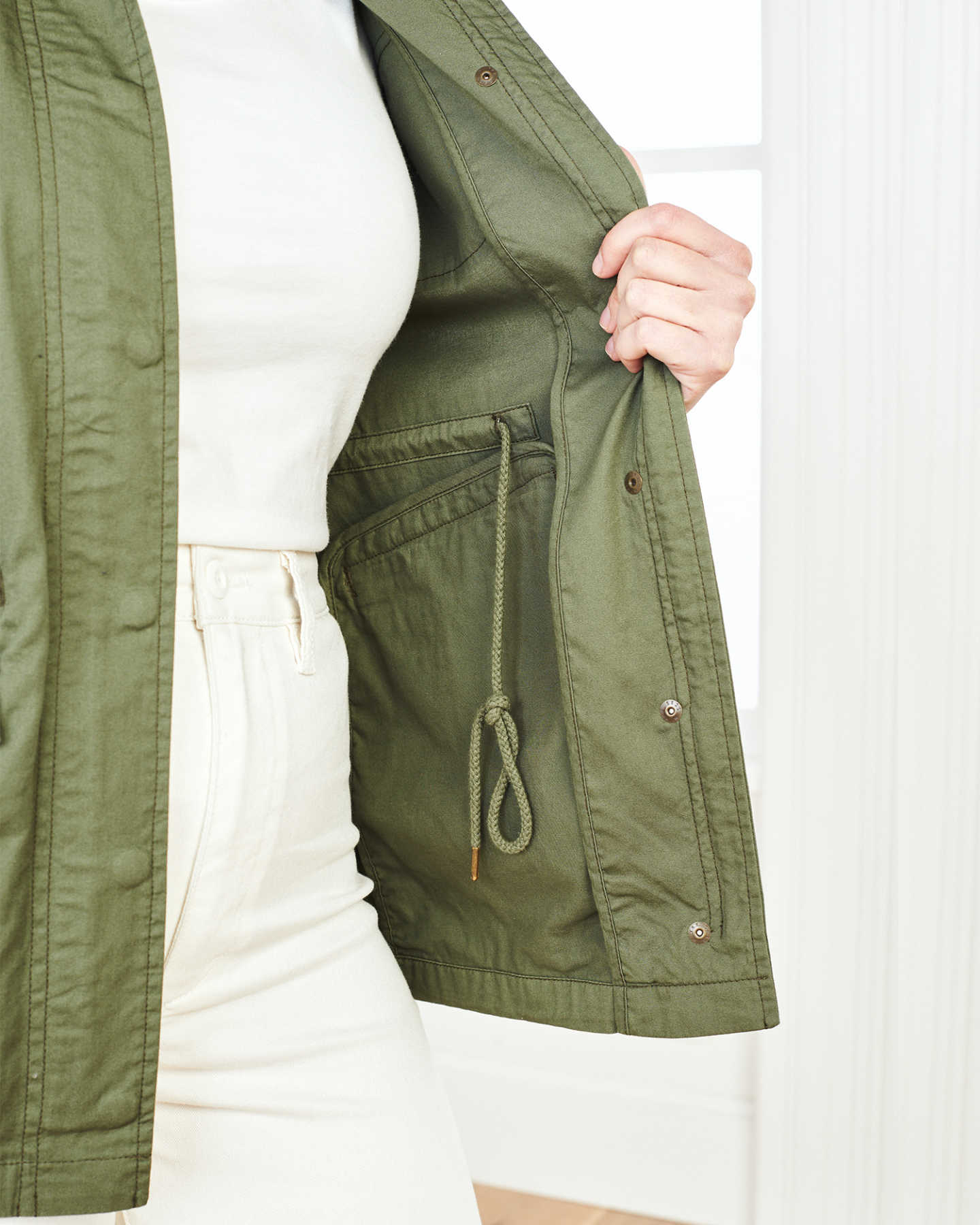 Cotton Twill Utility Jacket - Olive - 3