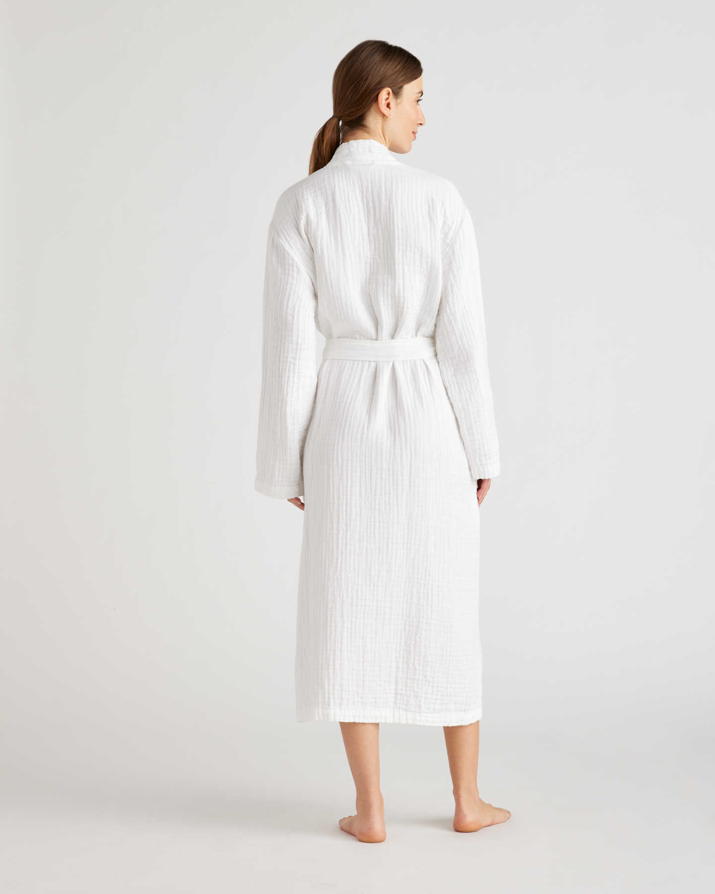 Organic Turkish Cotton Gauze Robe - White - 2