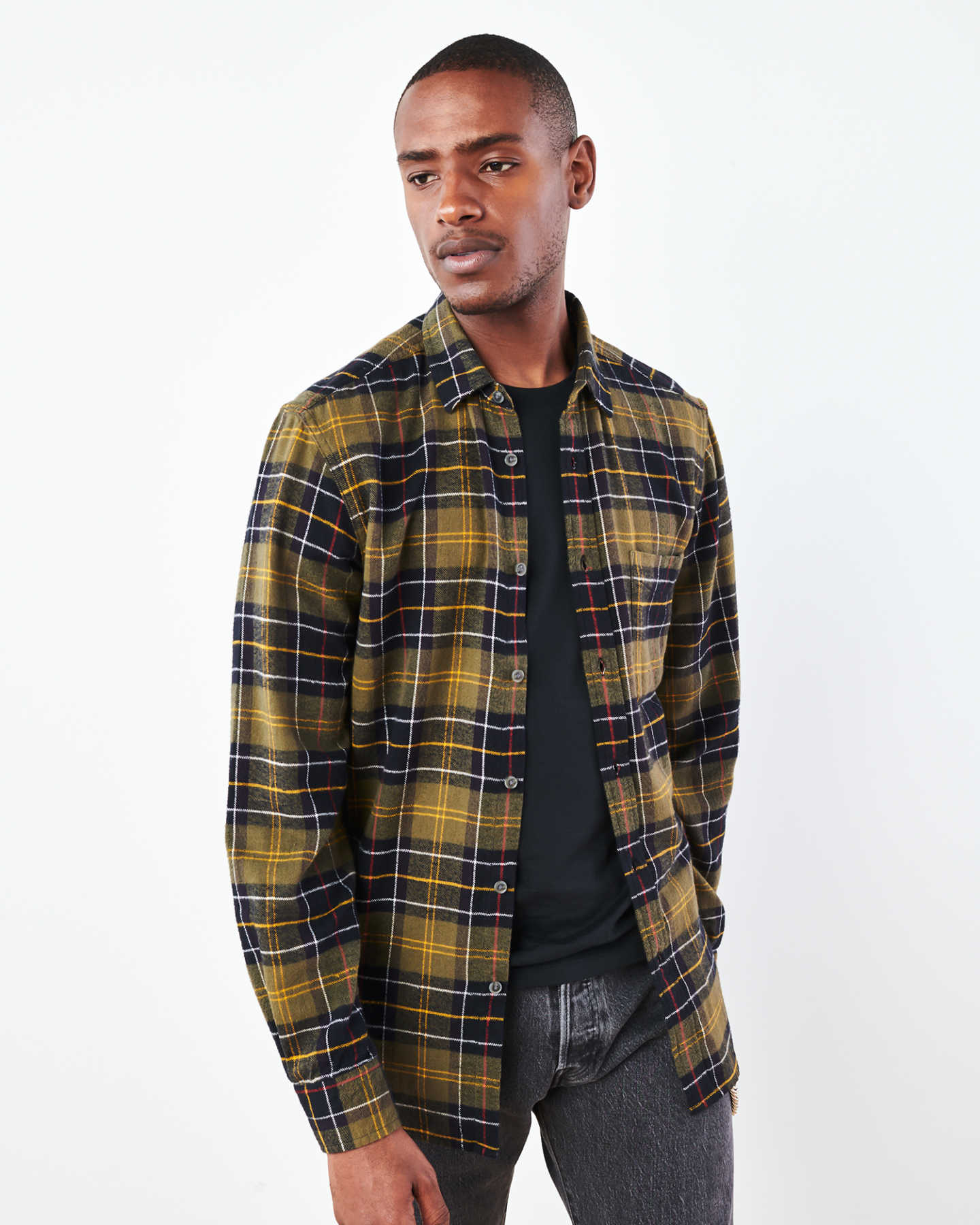 Soft Brushed Plaid Flannel Shirt - Olive/Black