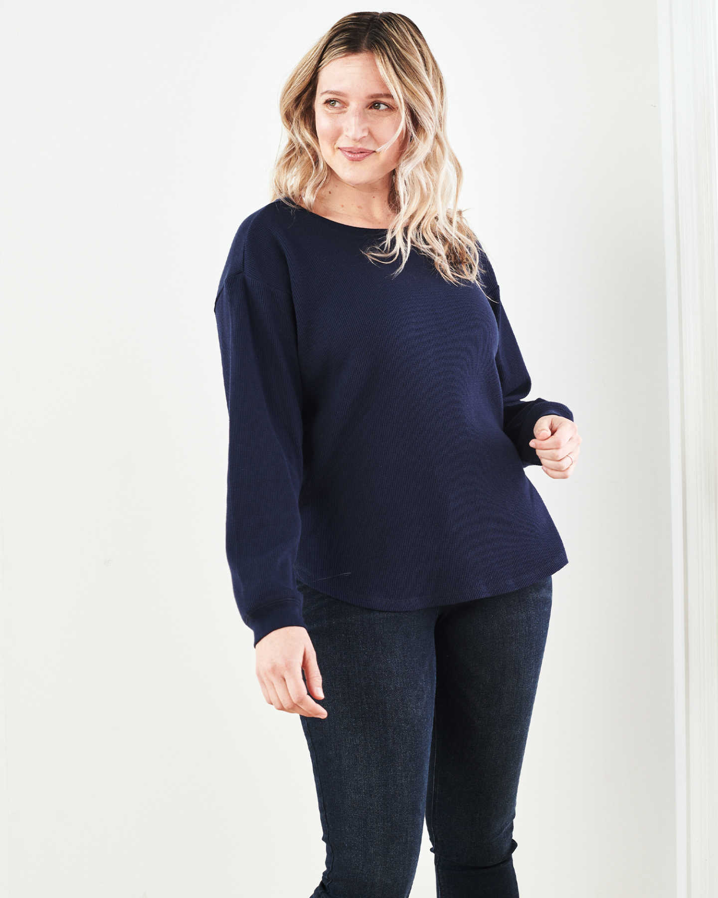 Luxe Organic Waffle Thermal Crew - Navy - 6