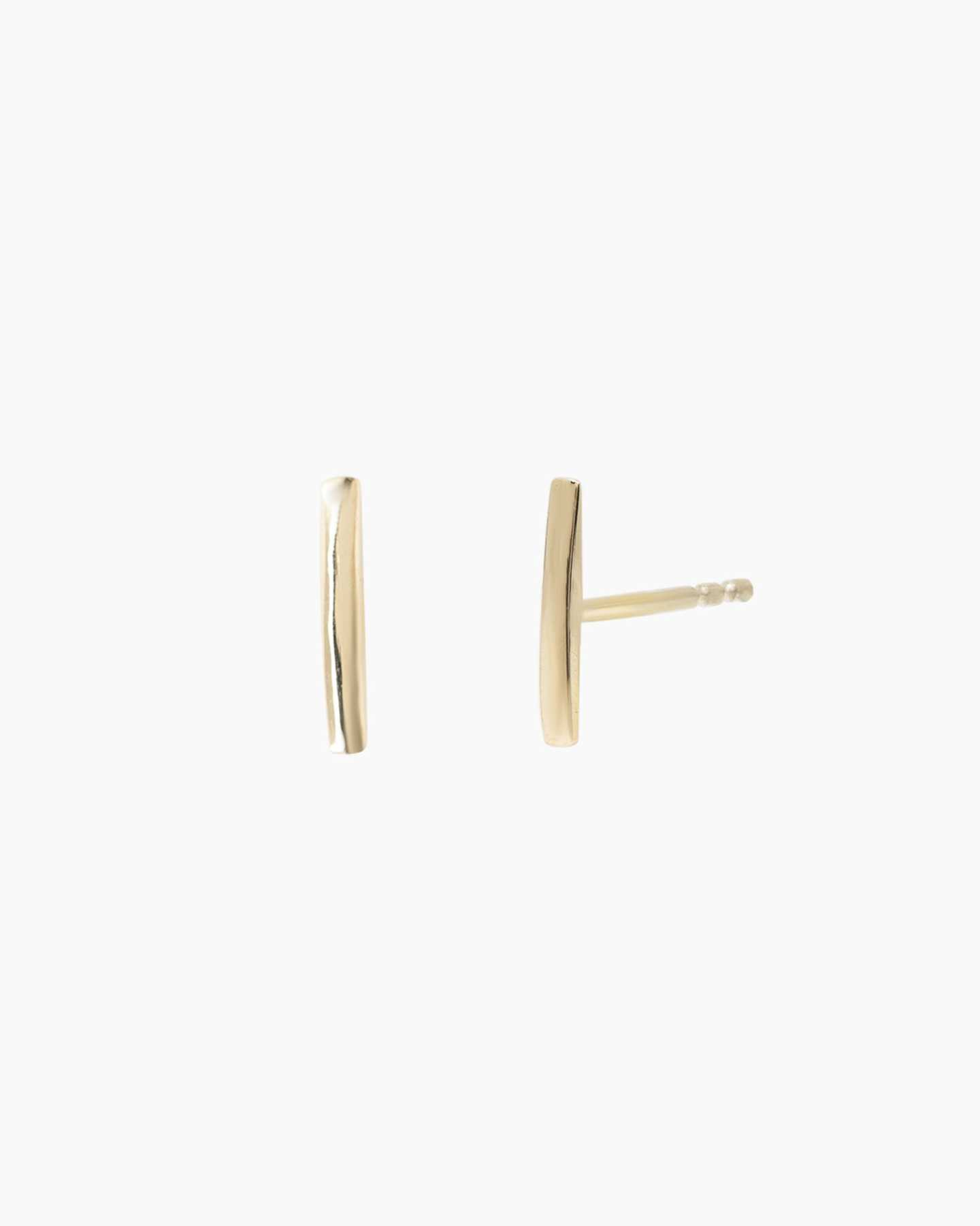 14k Gold Line Studs - Yellow Gold