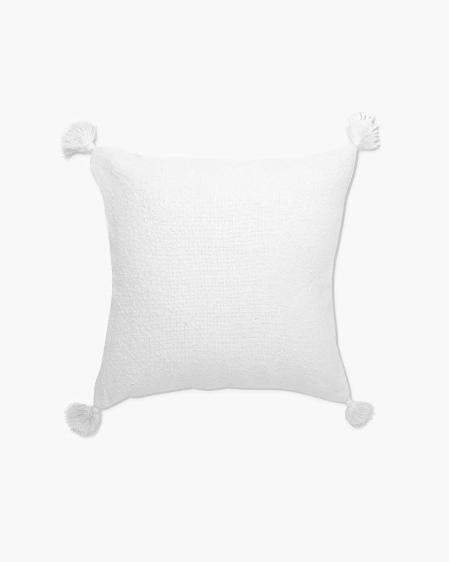 Linen Tassel Pillow Cover - White