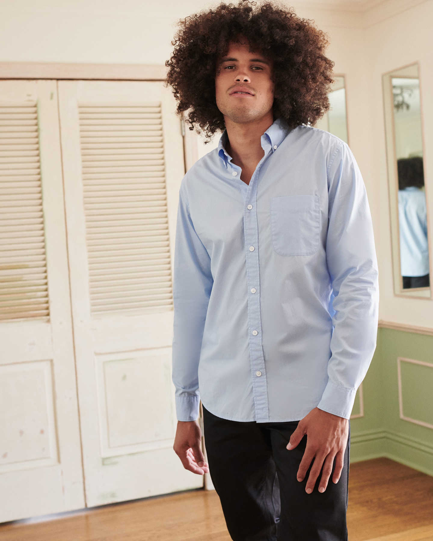 Organic Long Sleeve Stretch Poplin Shirt - Light Blue - 4