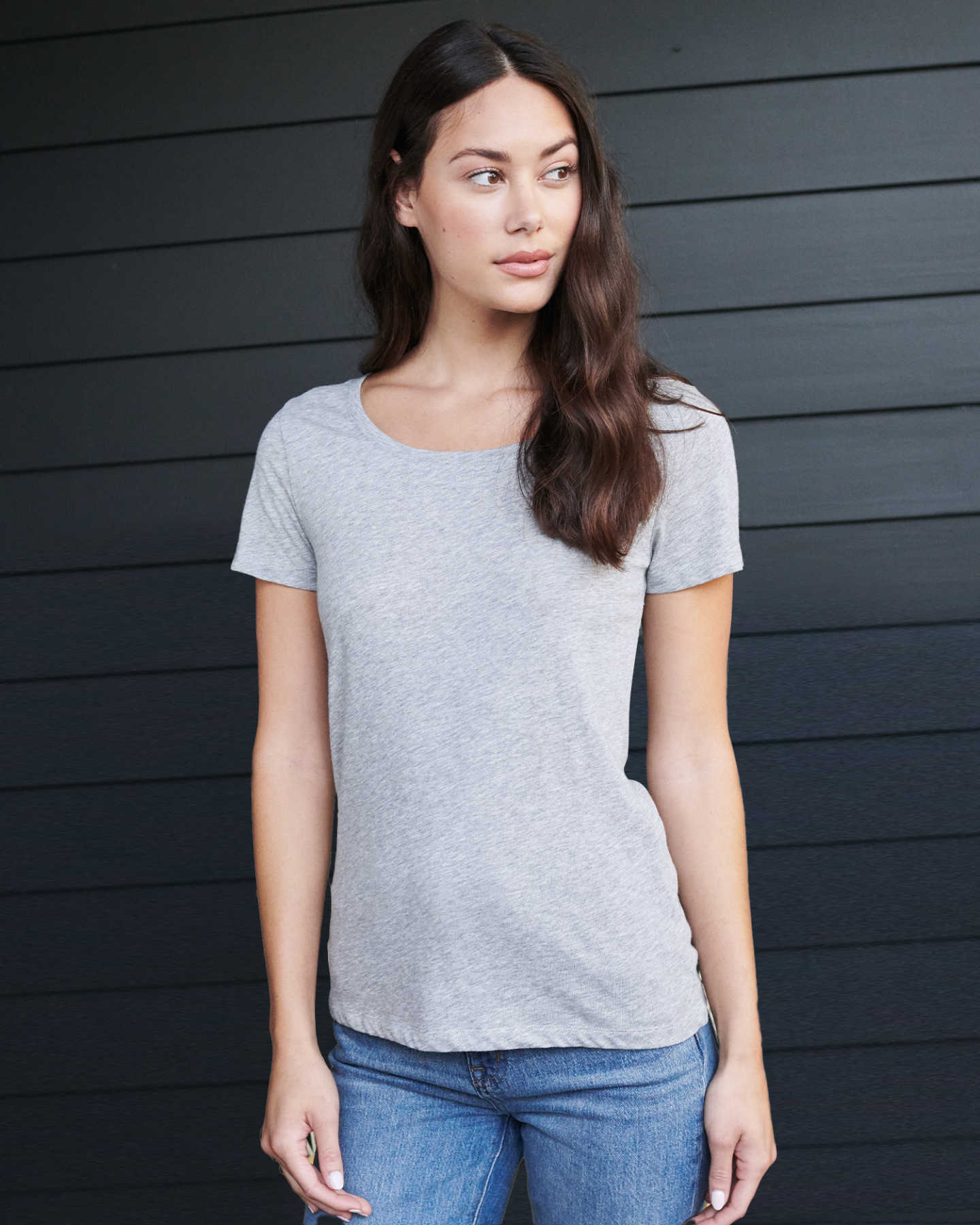 Cotton Modal Crew Neck Tee - Heather Grey