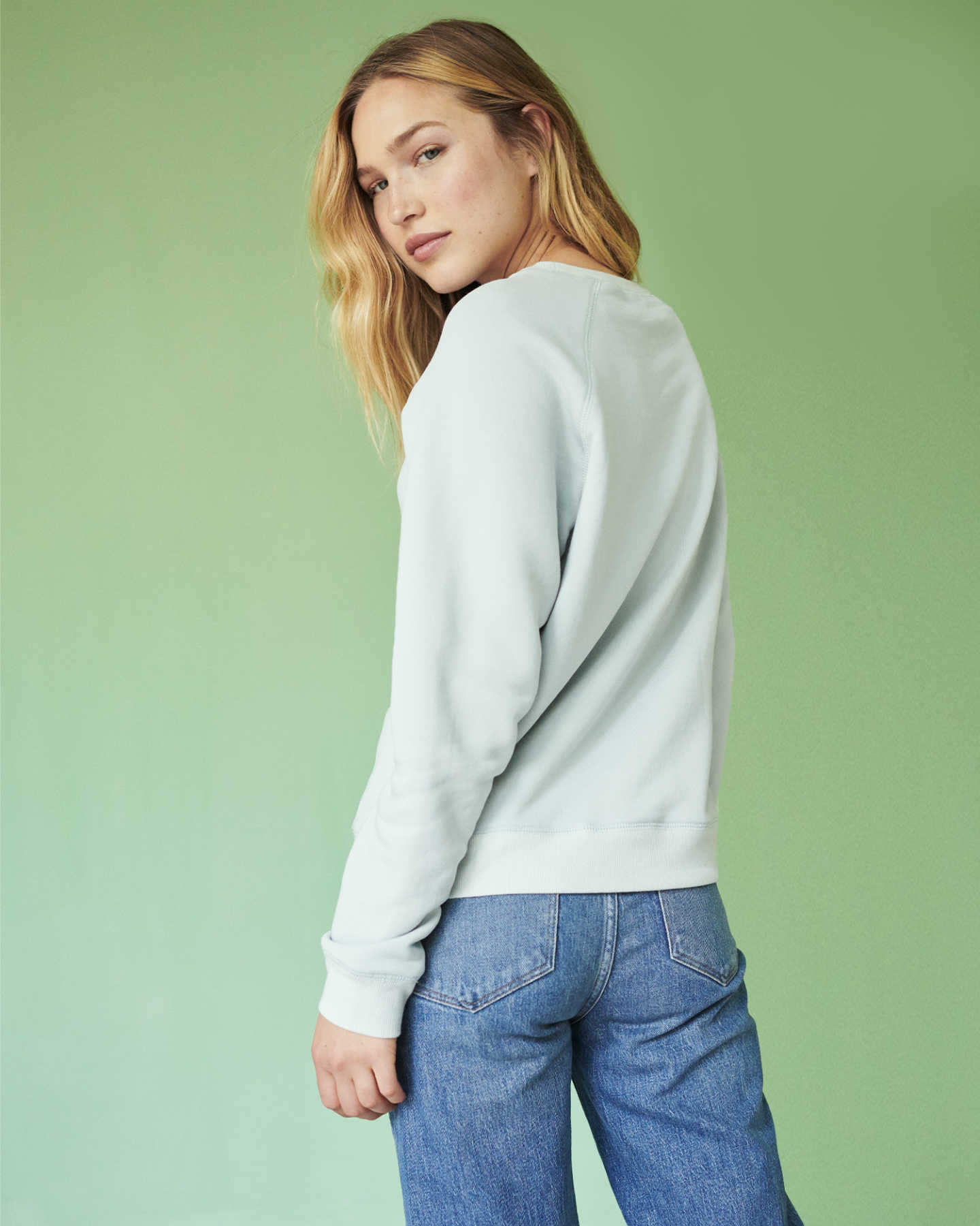 Organic French Terry Crew - Light Blue - 4