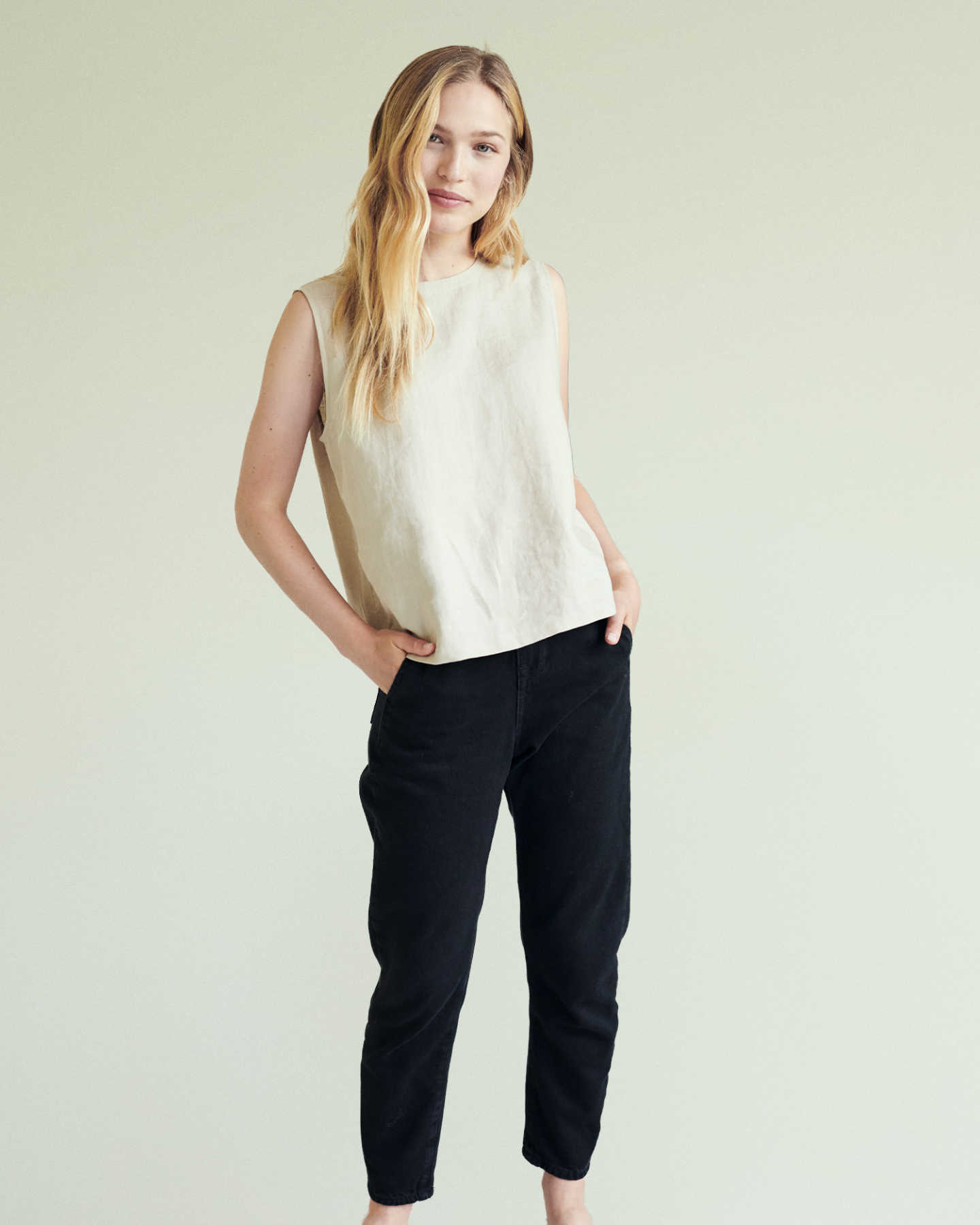linen tank top & linen pants for women driftwood black 1
