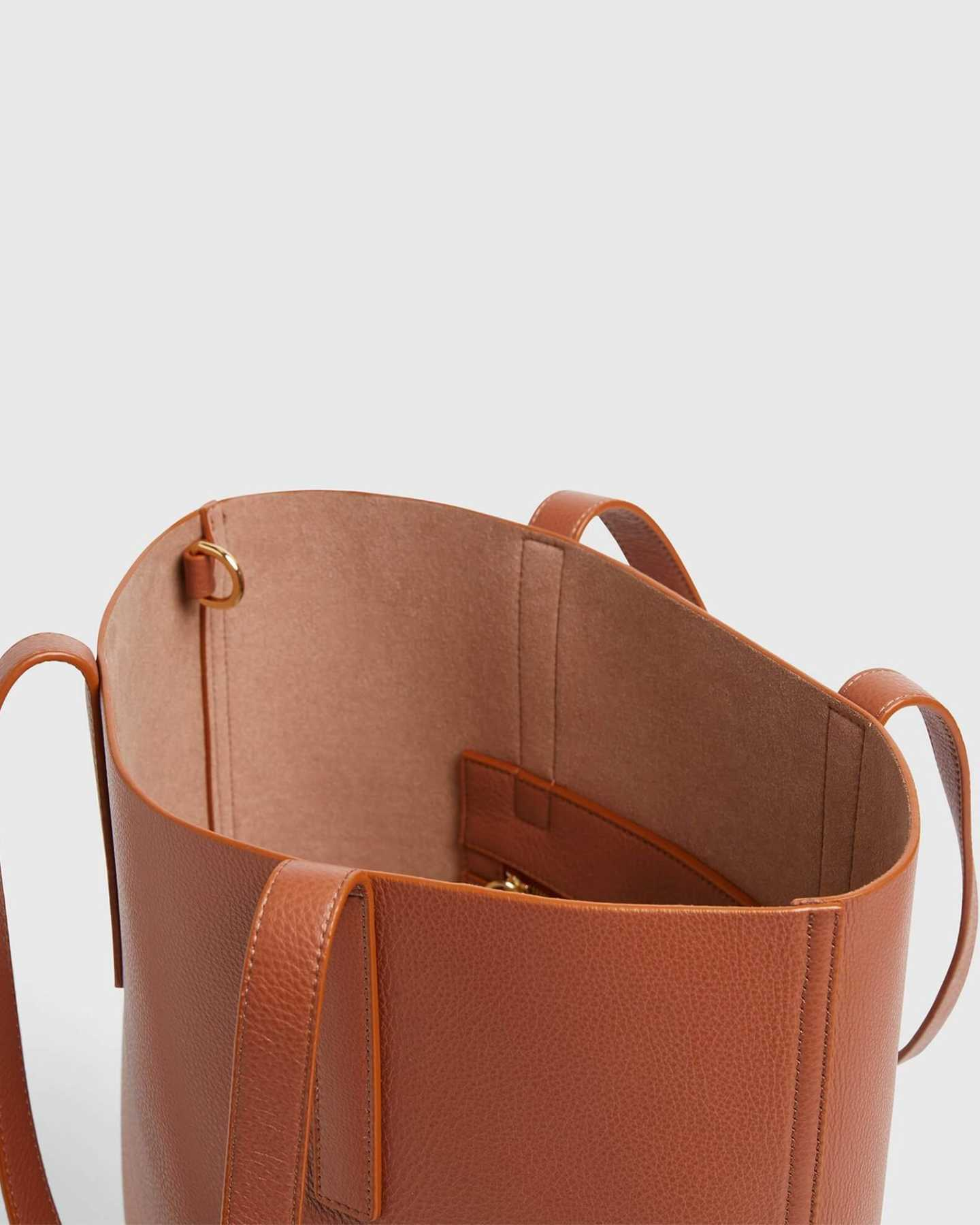 Tall Italian Leather Tote - Cognac - 4