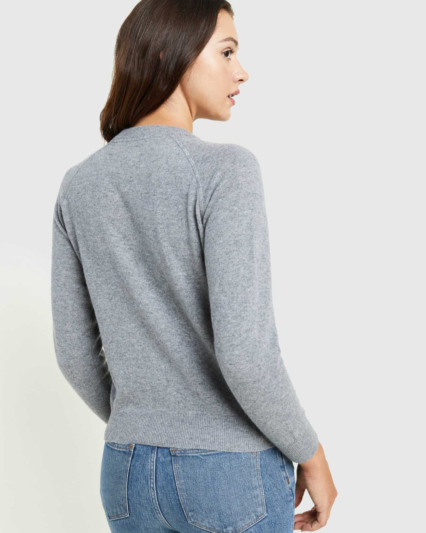 grey cashmere sweatshirt for women back