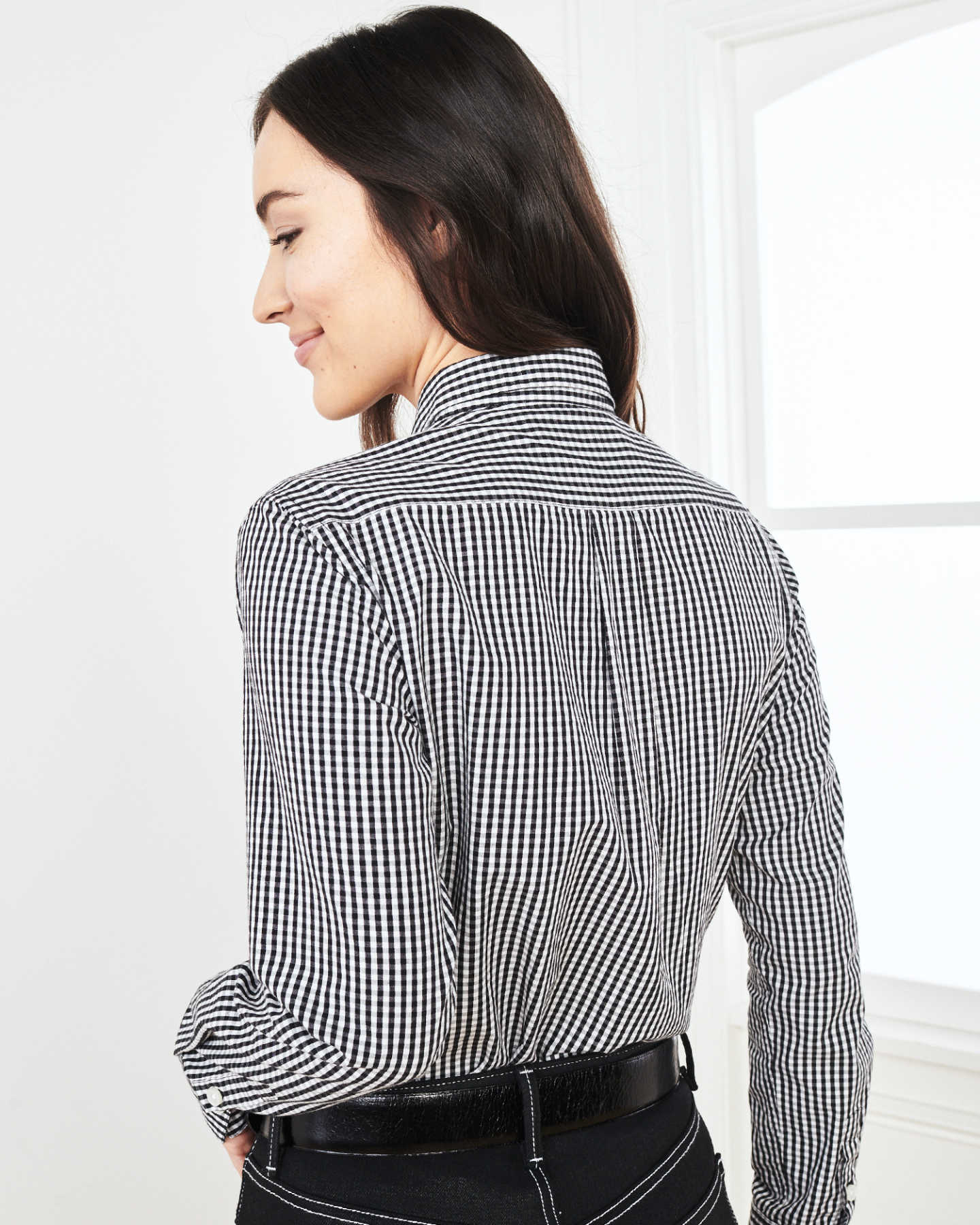Carbon Wash Gingham Shirt - Black/White - 3