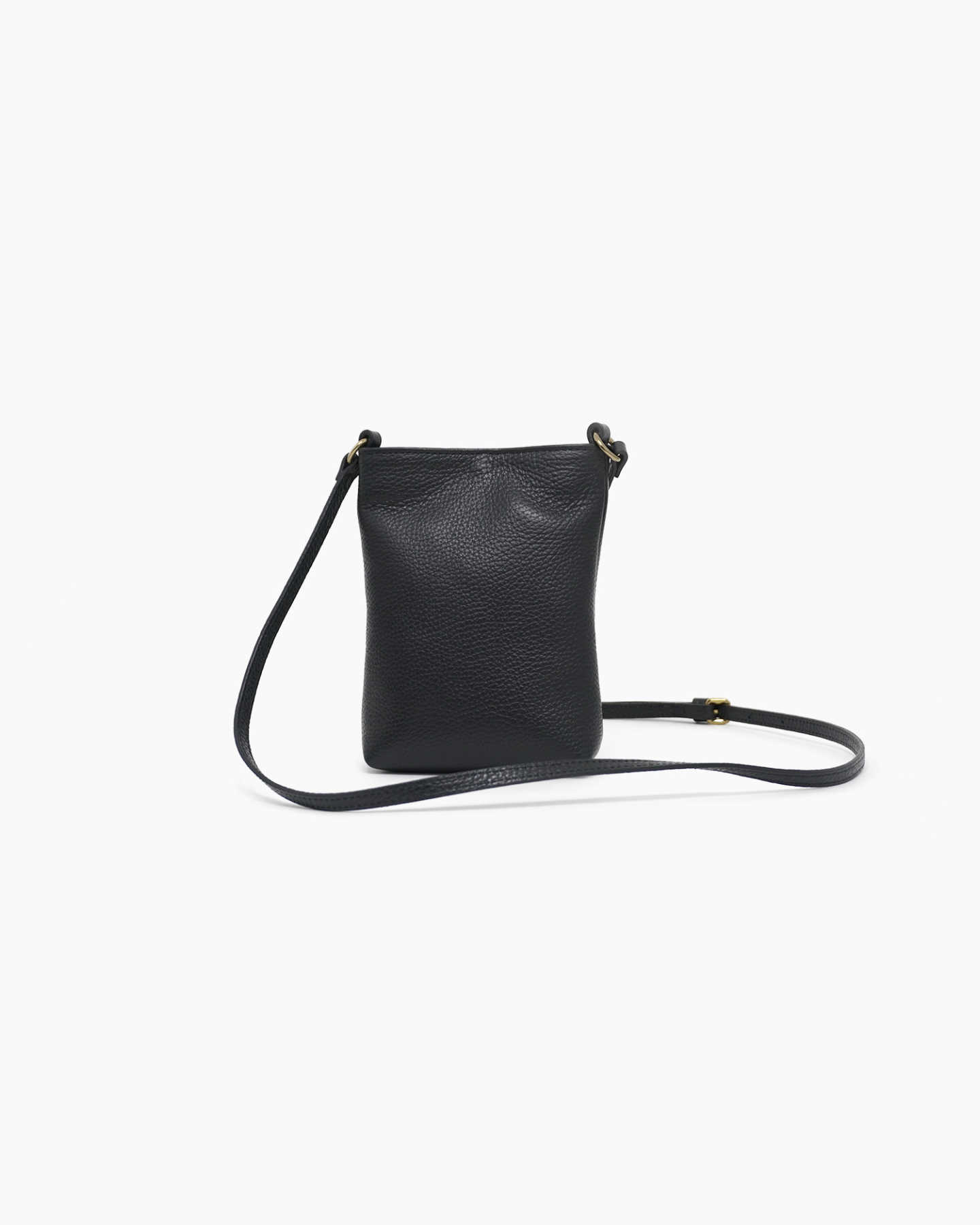 Italian Pebbled Leather Phone Crossbody - Black - 6 - Thumbnail