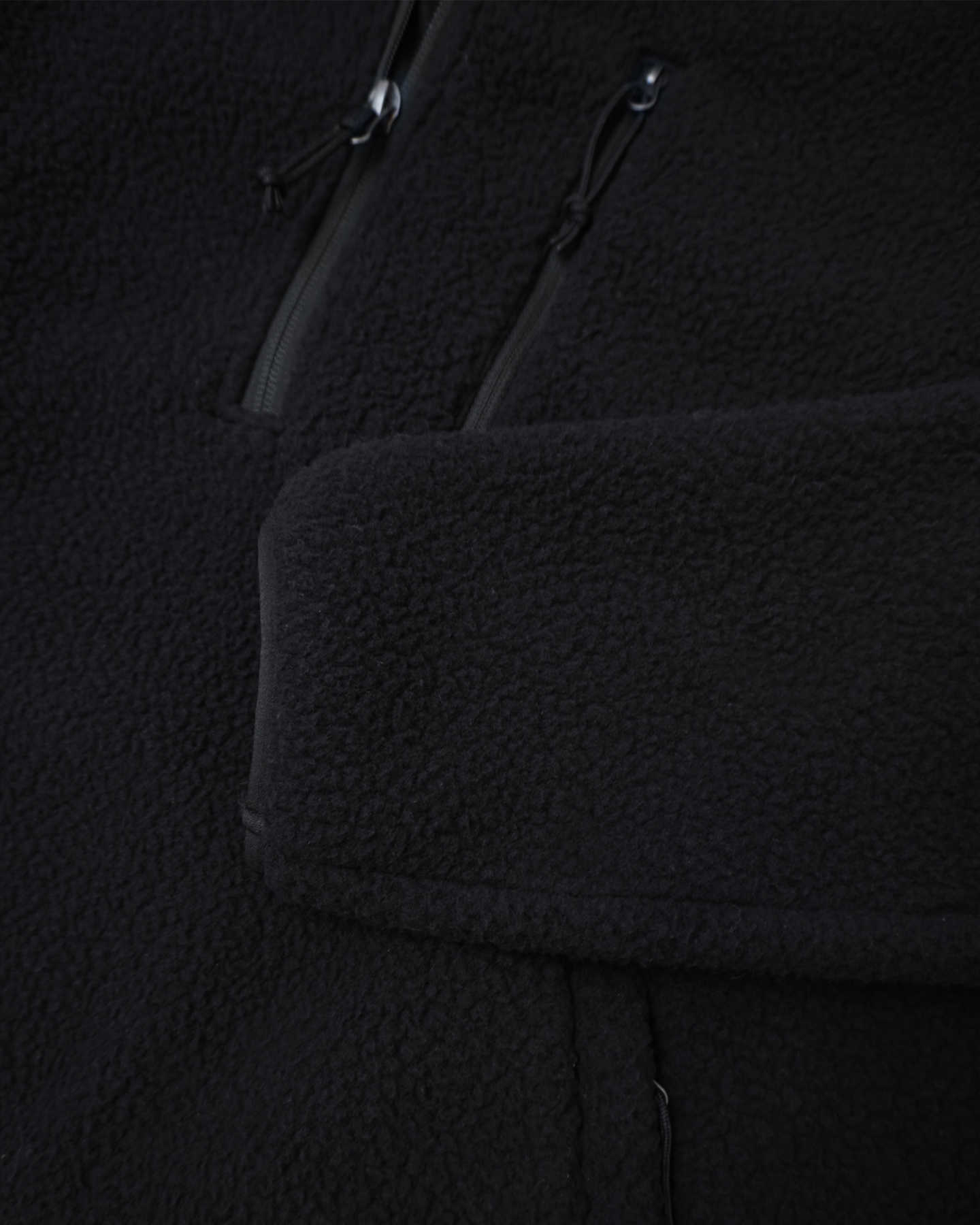 Recycled Sherpa Fleece Pullover Jacket - Black - 6
