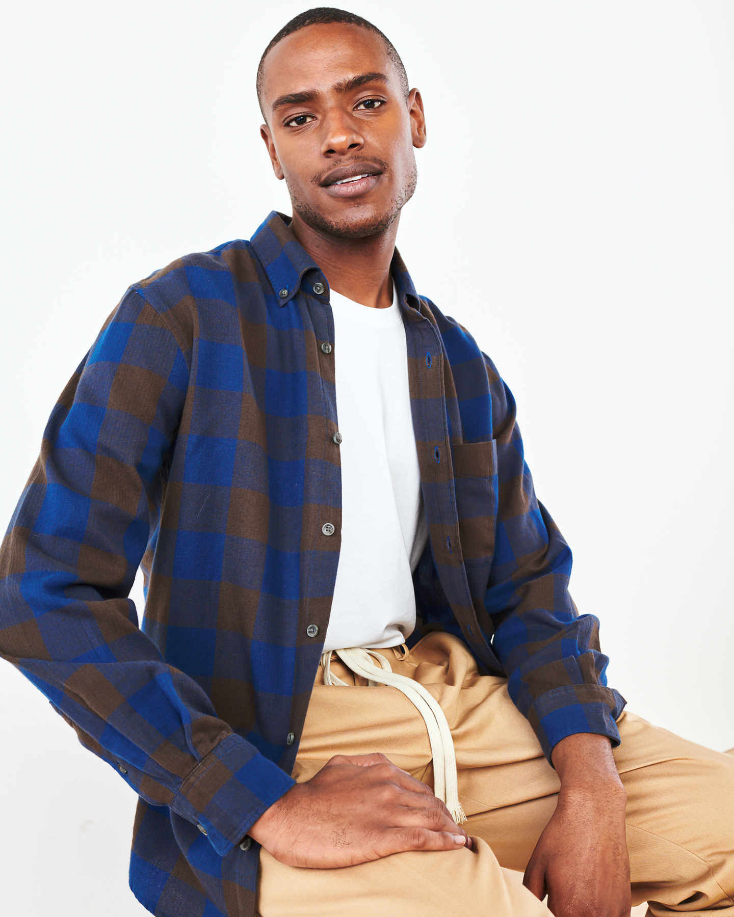 Featherweight Flannel Plaid Shirt - Navy/Grey