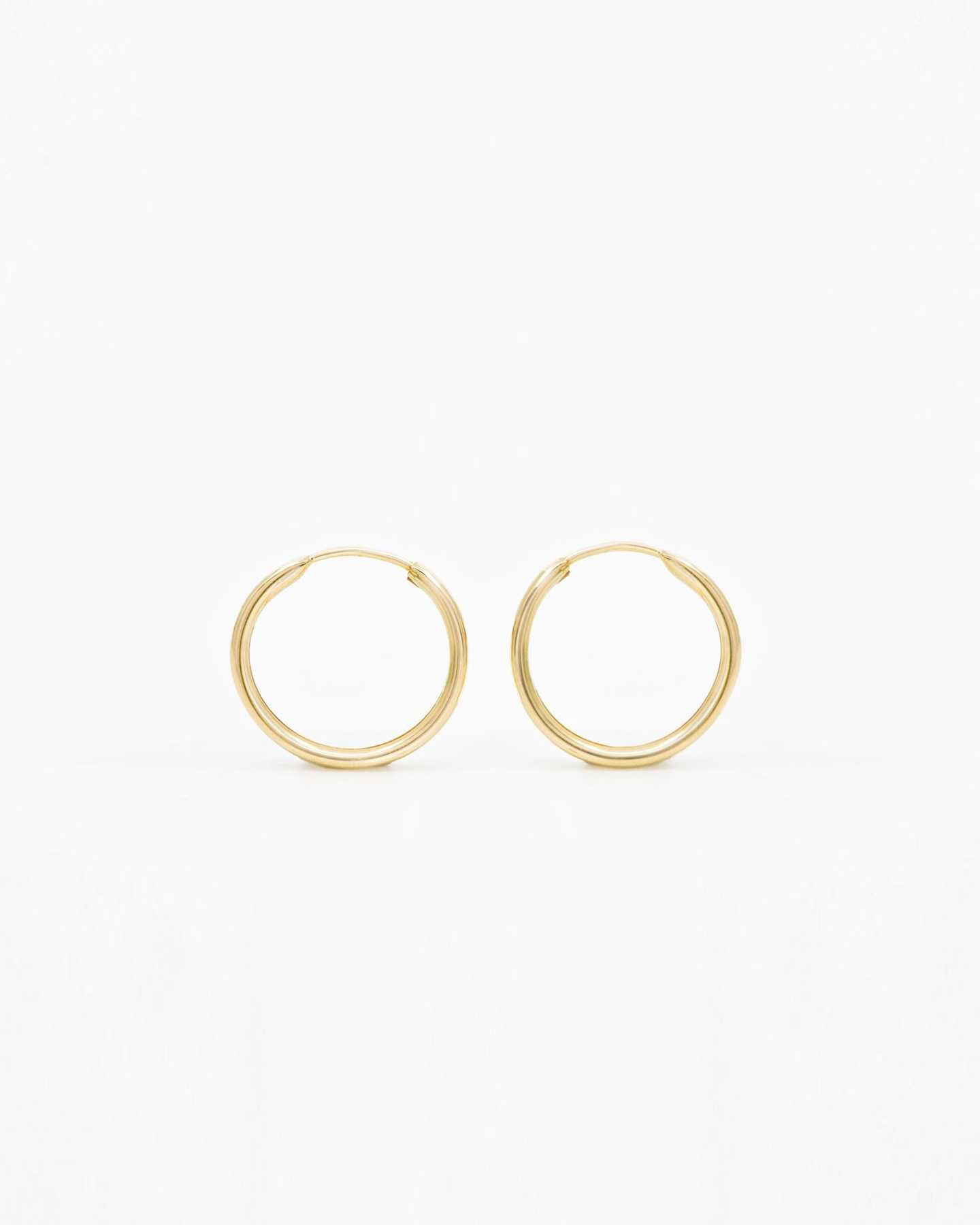 14k Gold Everyday 14mm Hoop Earrings - Yellow Gold