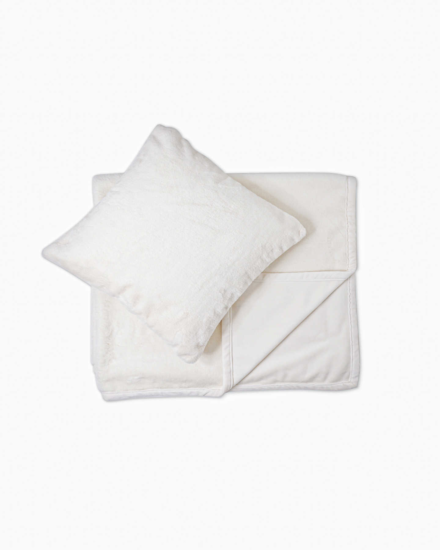 Plush Recycled Faux Fur Throw & Pillow Cover Set - Ivory - 0