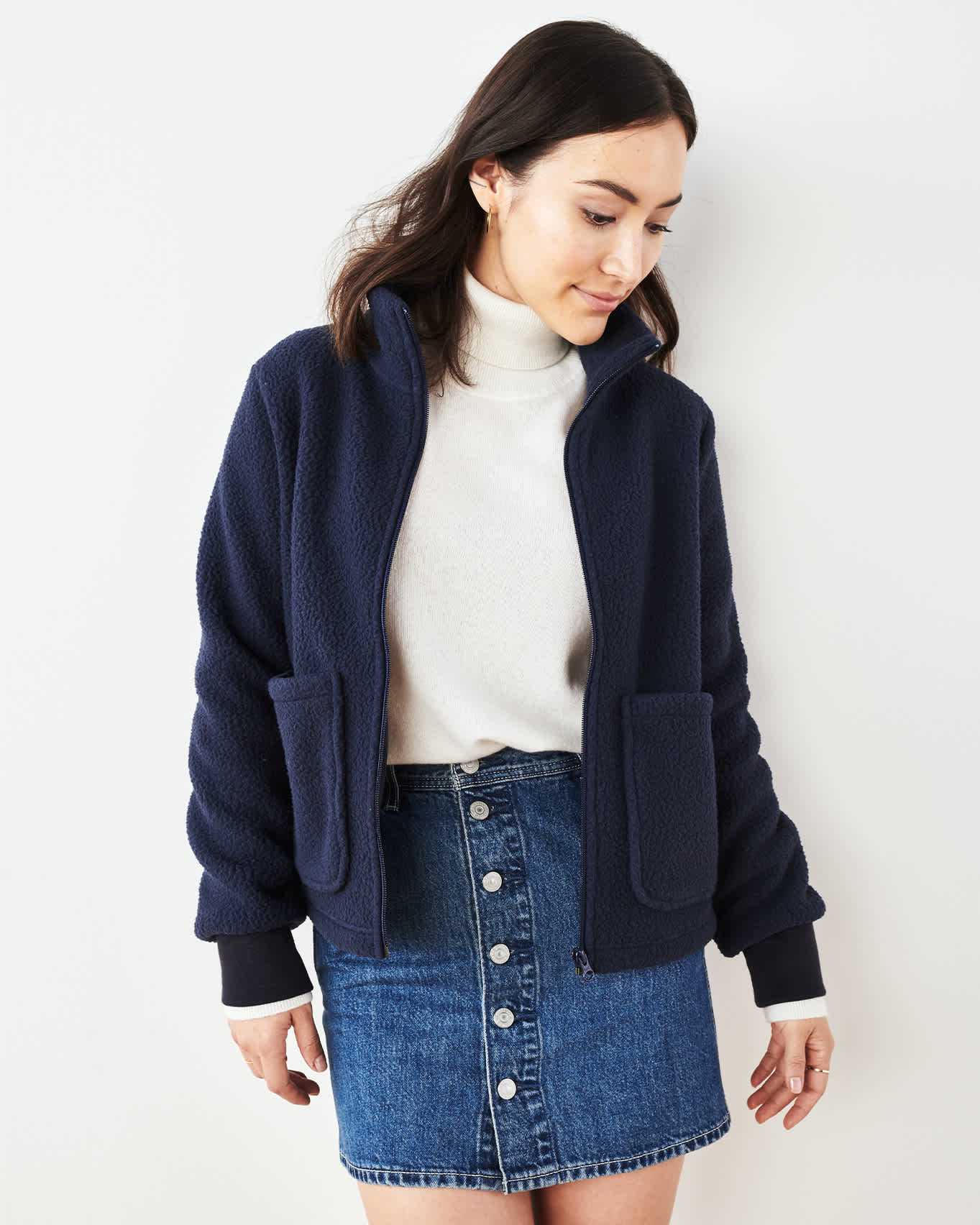 Recycled Sherpa Chore Jacket - Navy