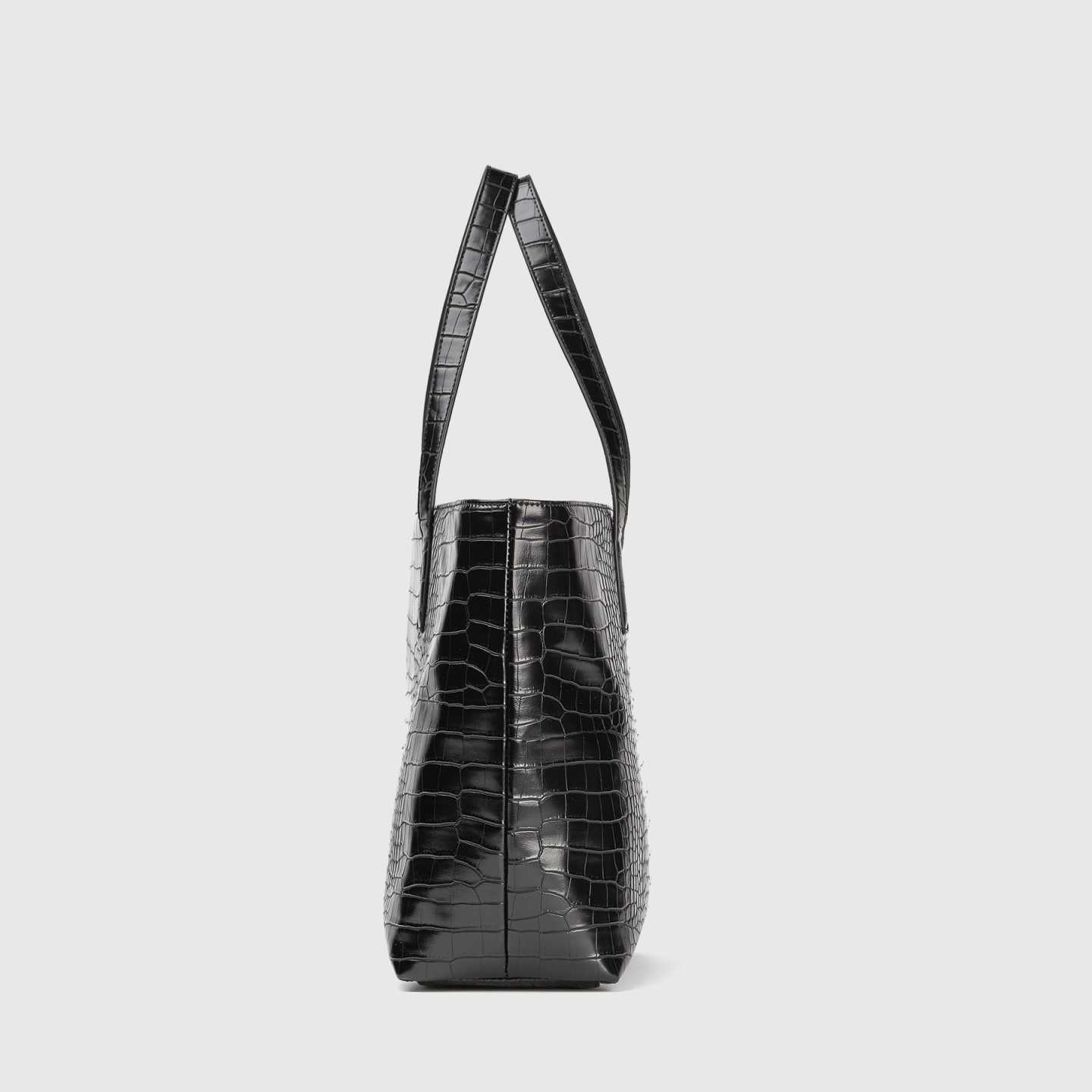 vegan leather bag in black croco from back