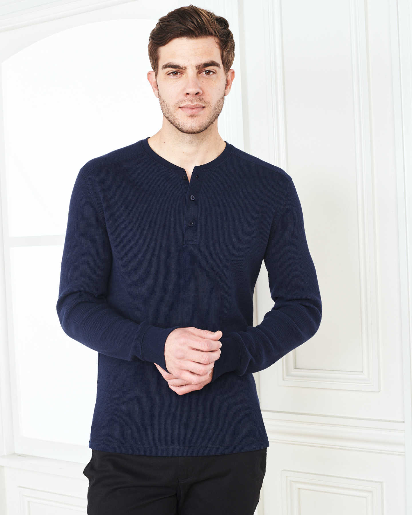 Luxe Organic Waffle Thermal Henley - Navy - 7