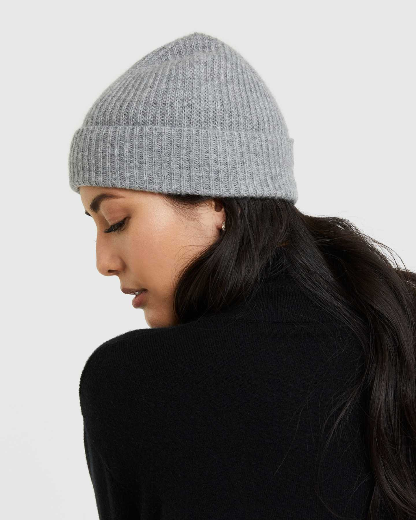 Pair With - Mongolian Cashmere Ribbed Beanie - Heather Grey