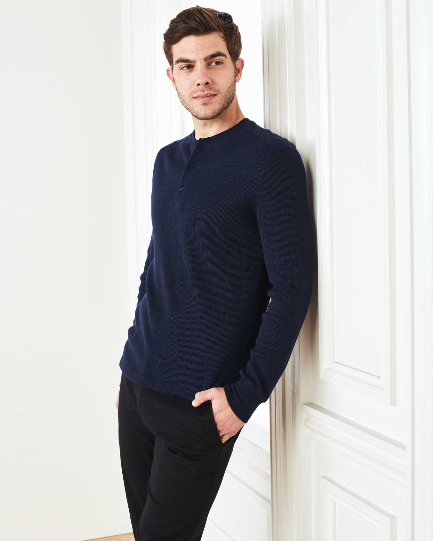 Luxe Organic Waffle Thermal Henley - Navy - 2