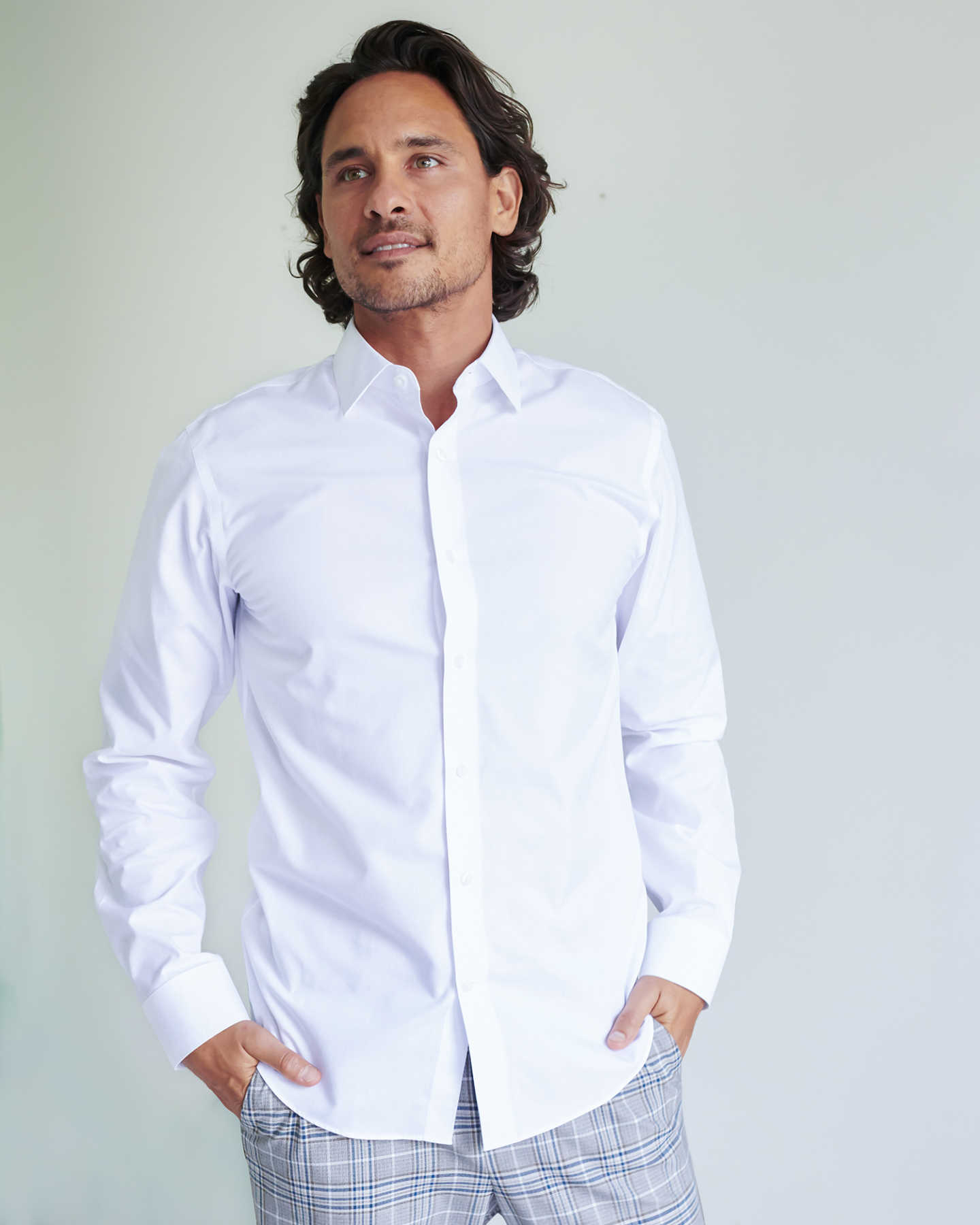 120s Supima Dress Shirt (w/ WrinkleGuard) - White - 2