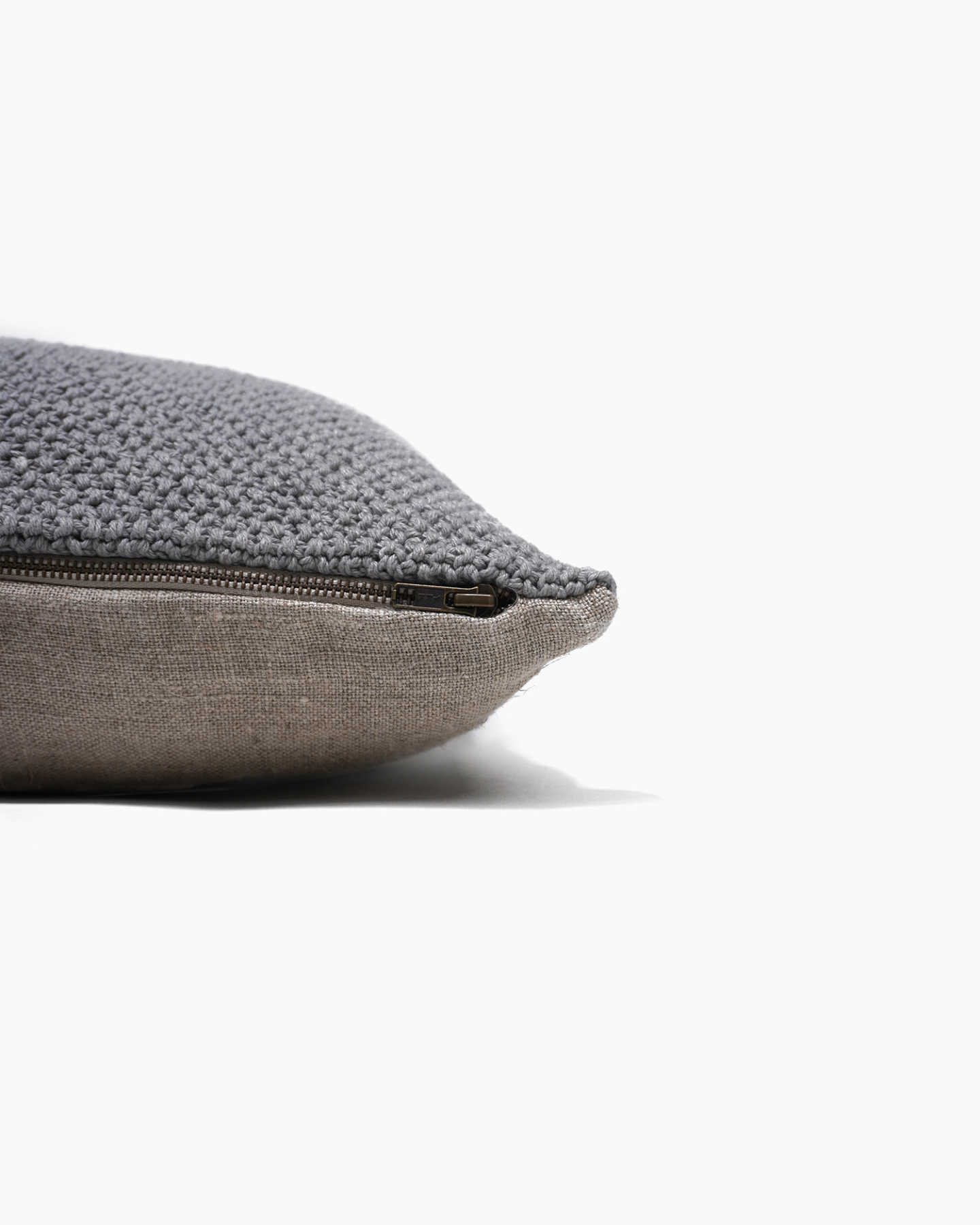 Textured Cotton Pillow Cover - Grey - 3