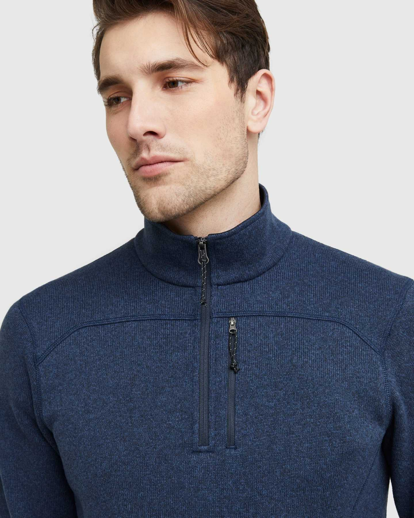 Quarter Zip Sweater Fleece Jacket - 13649834573935