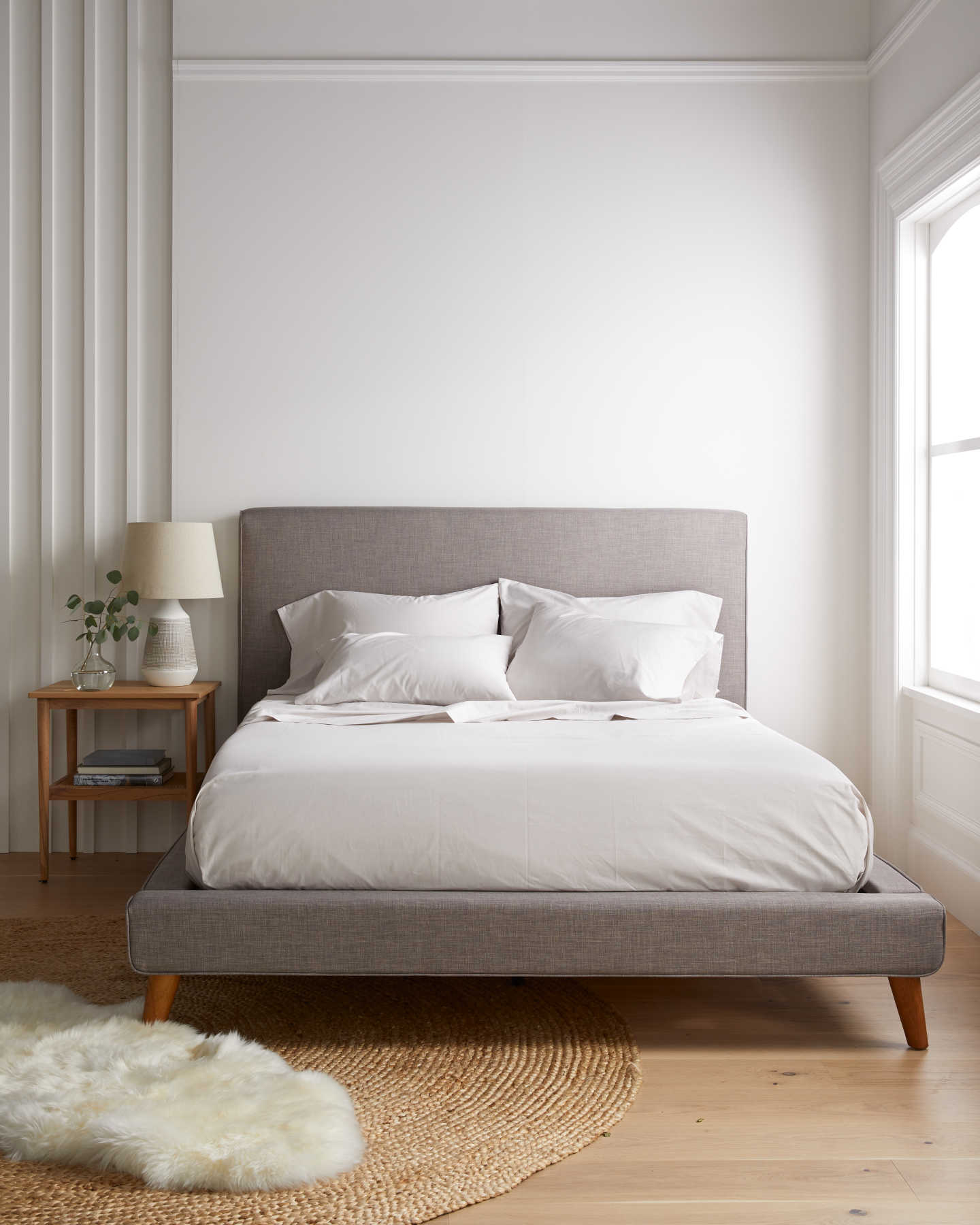Organic percale sheet set in sand - named the best percale sheets by SleepFoundation.org