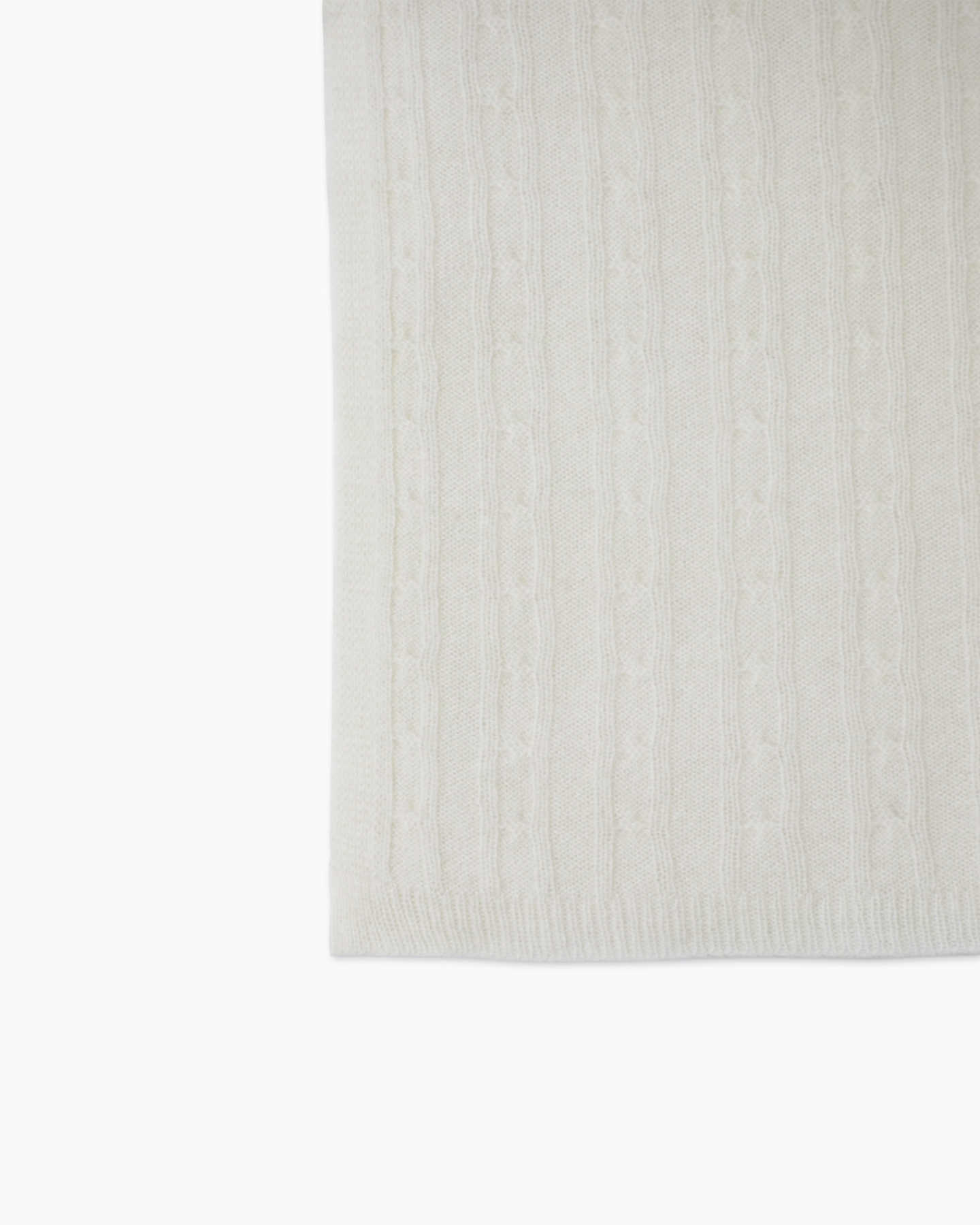 ivory cashmere baby blanket from side