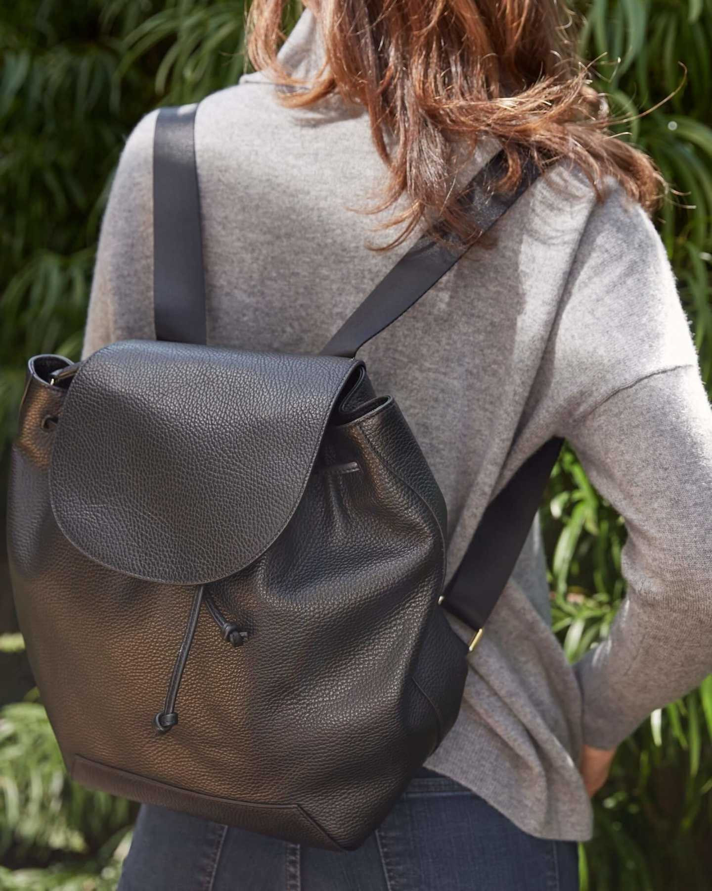 Italian Pebbled Leather Backpack - 12806474989679