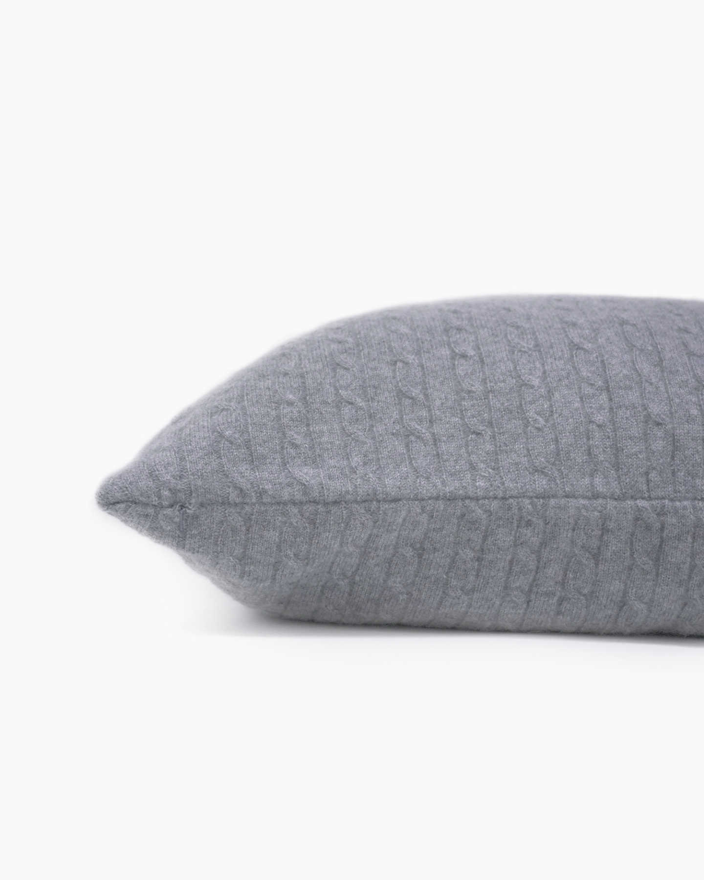 Cable Knit Cashmere Pillow Cover - Heather Grey - 2