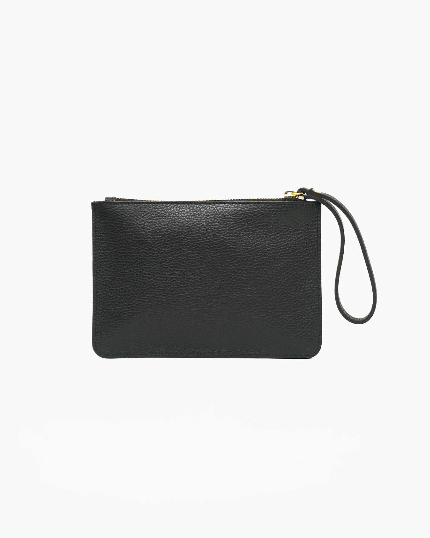 Italian Pebbled Leather Wristlet - Black
