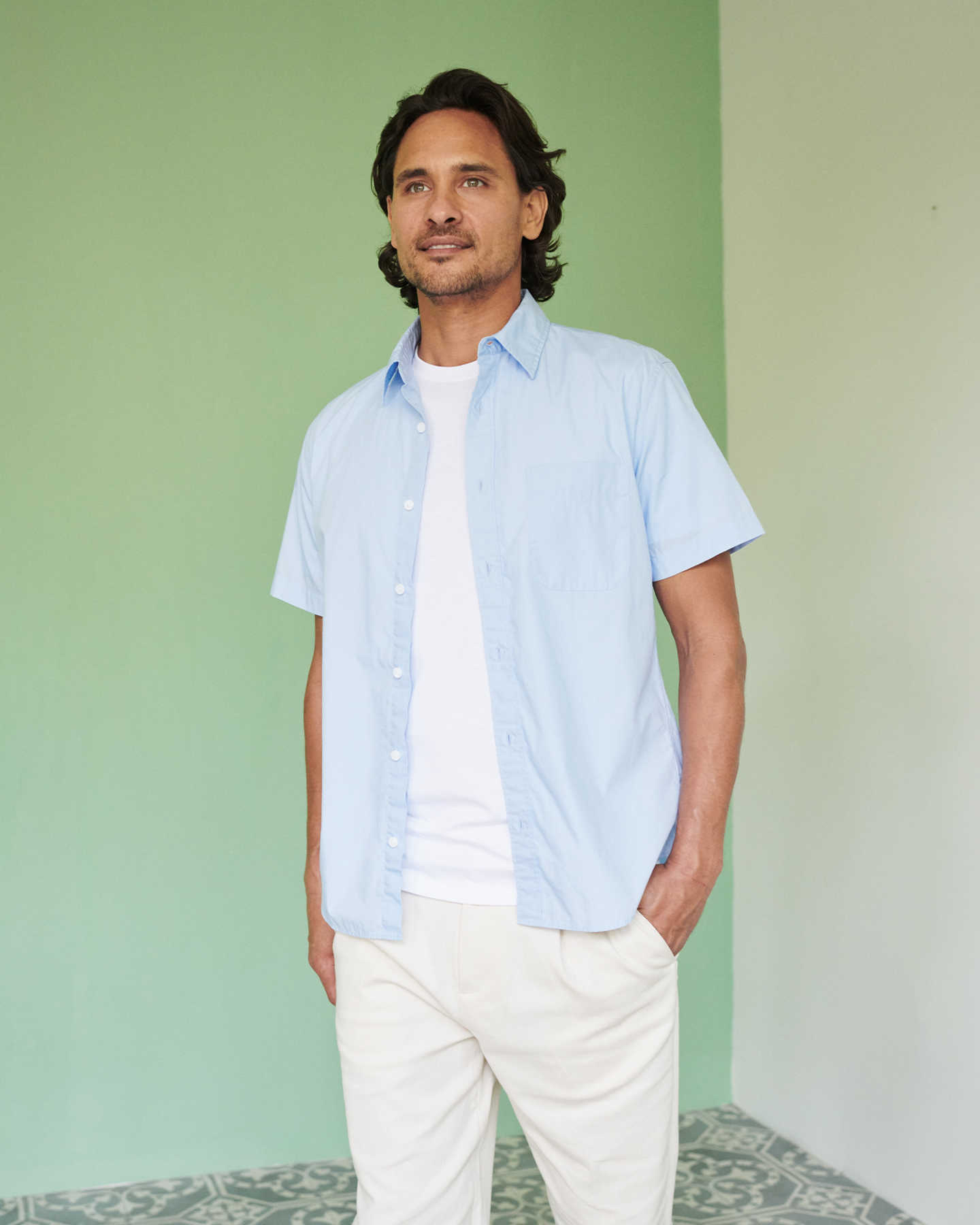 Organic Short Sleeve Stretch Poplin Shirt - Light Blue - 2