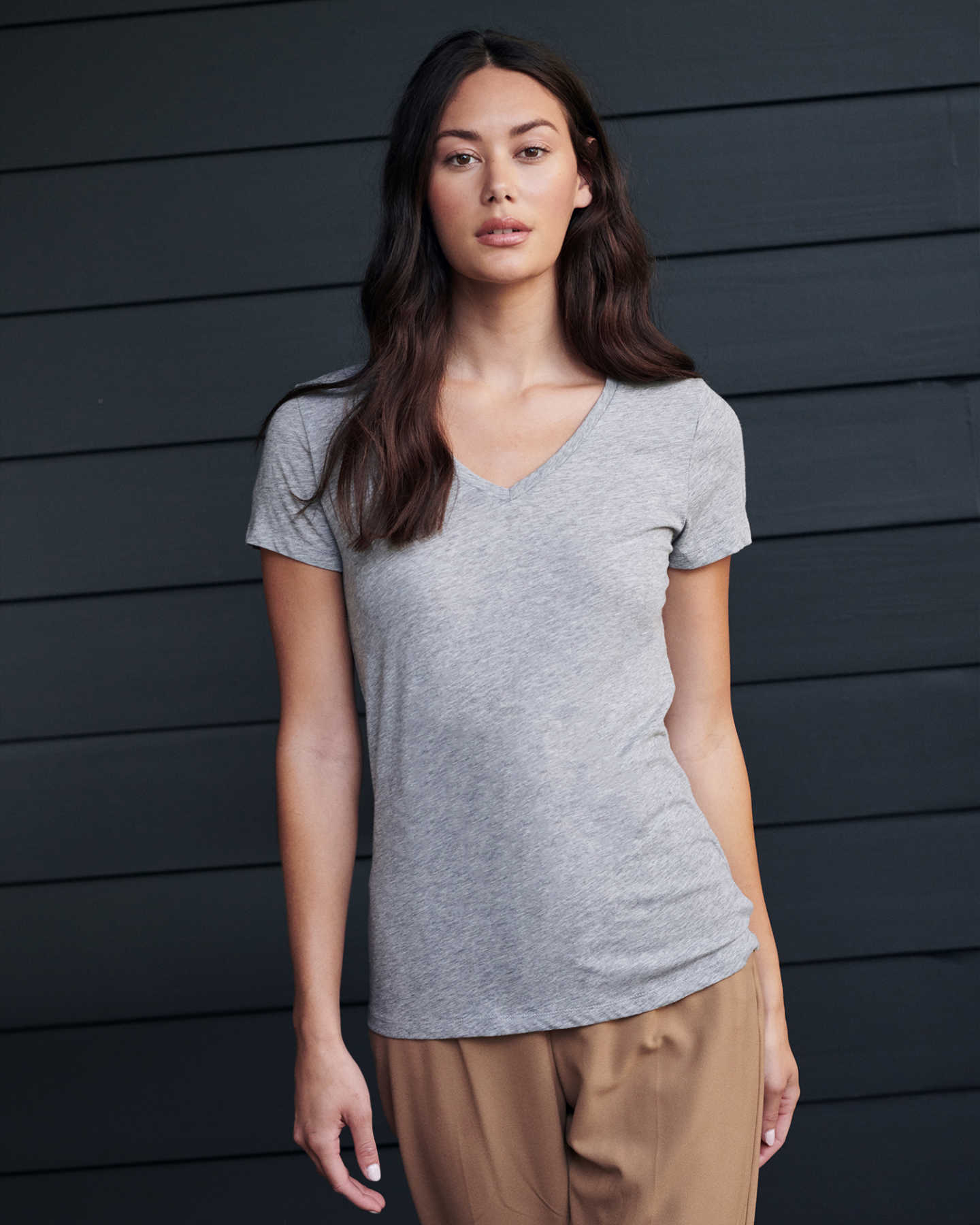 Cotton Modal V Neck Tee - Heather Grey