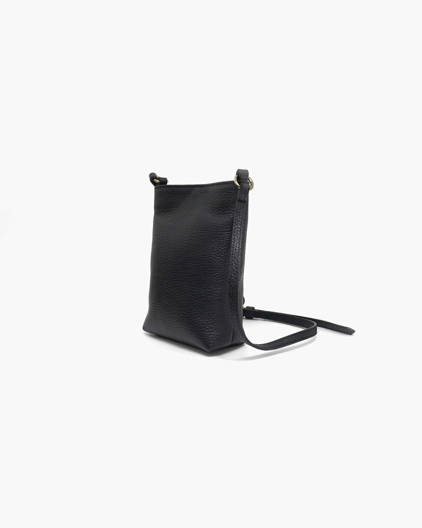 Italian Pebbled Leather Phone Crossbody - Black - 7