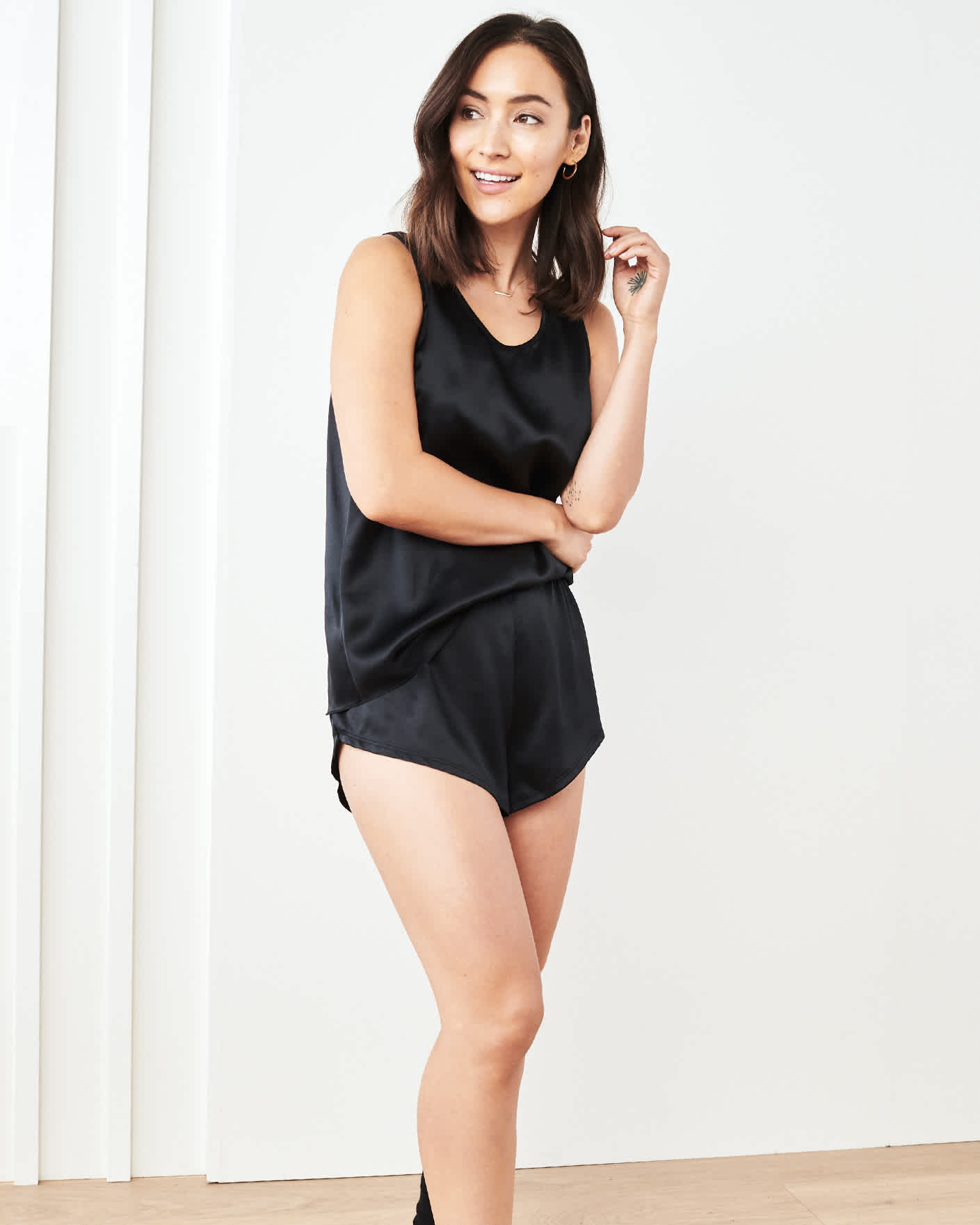 100% Washable Silk Tank & Shorts Pajama Set - Black