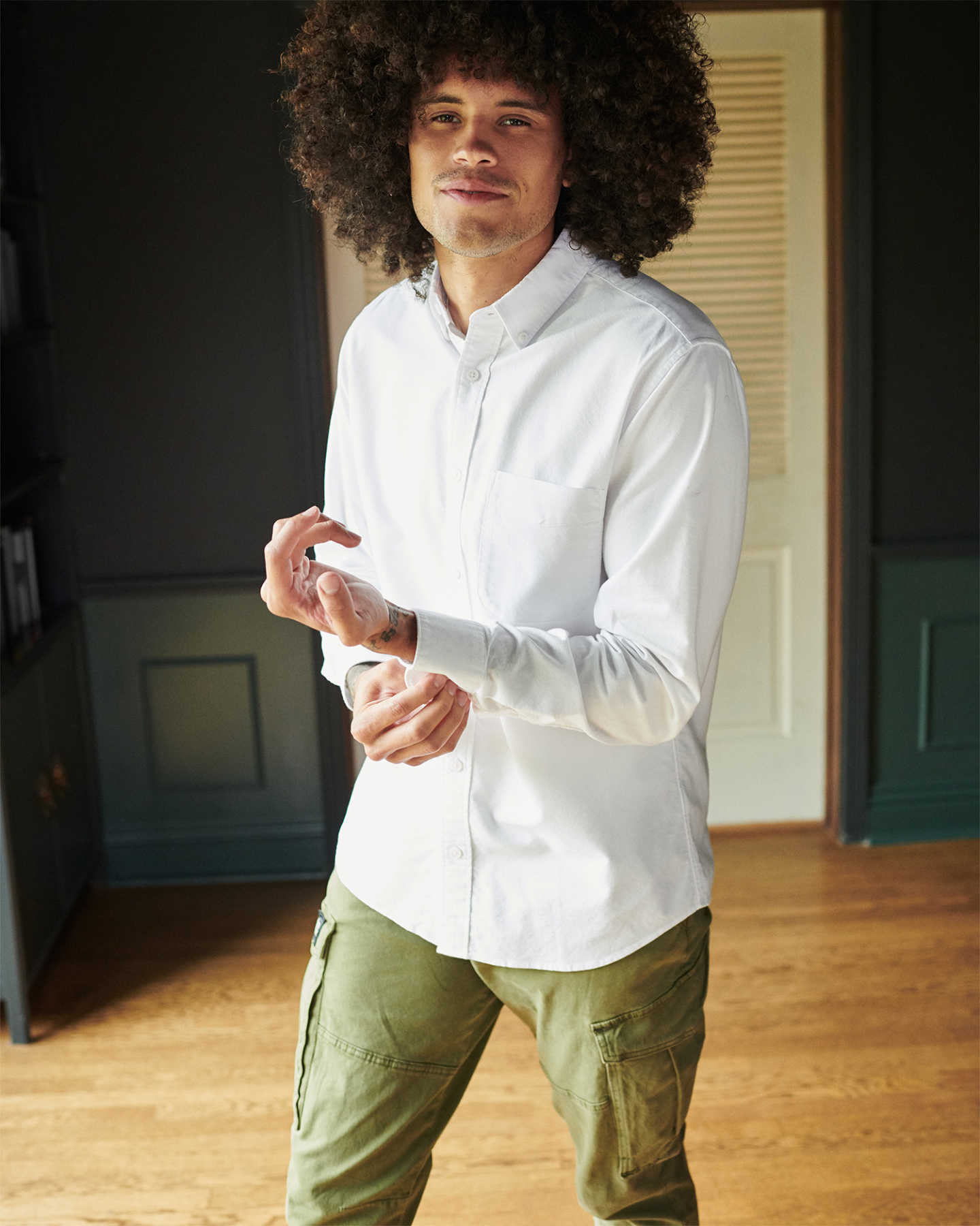 Organic Cotton Stretch Oxford Shirt - White