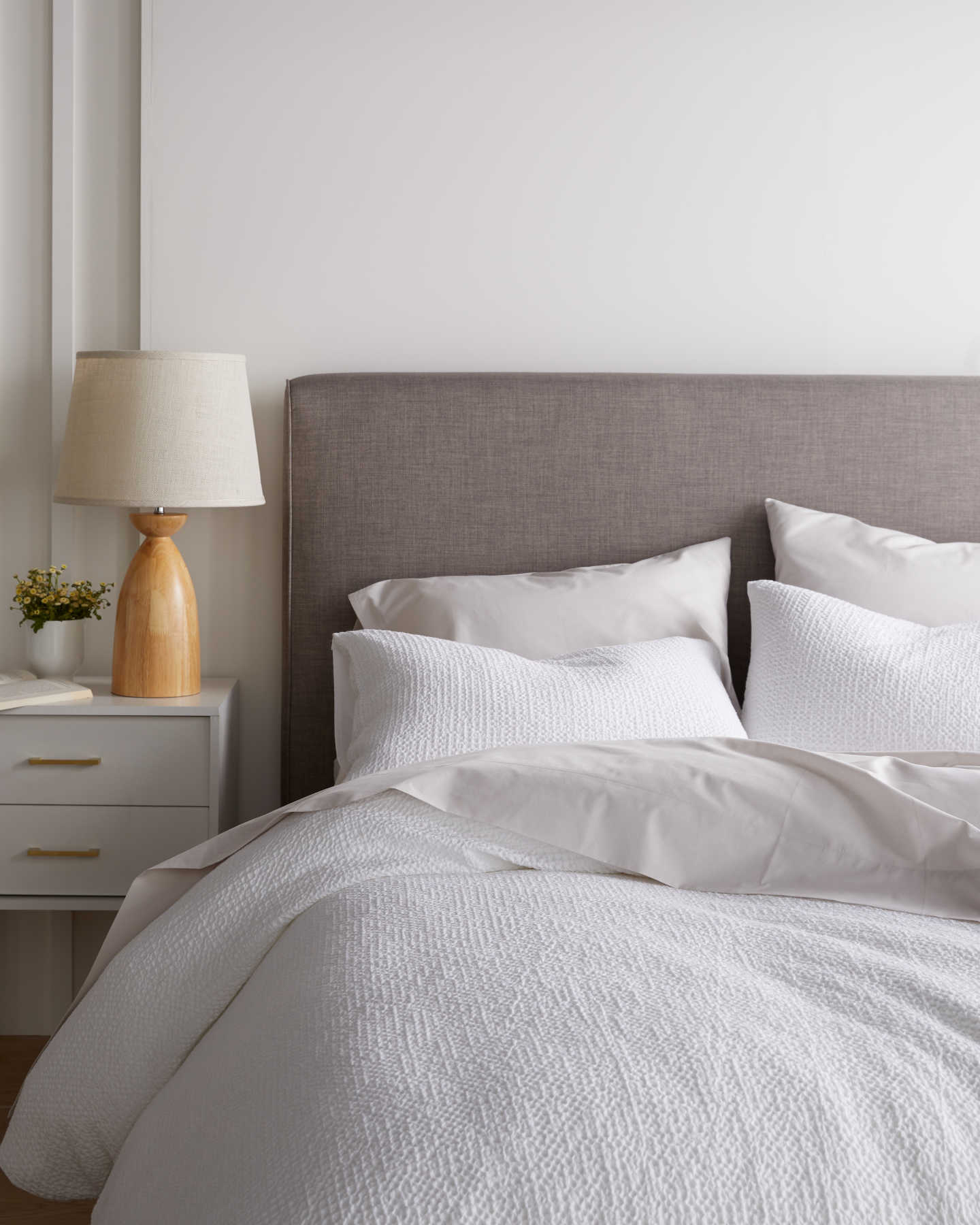 White waffle duvet cover set on bed