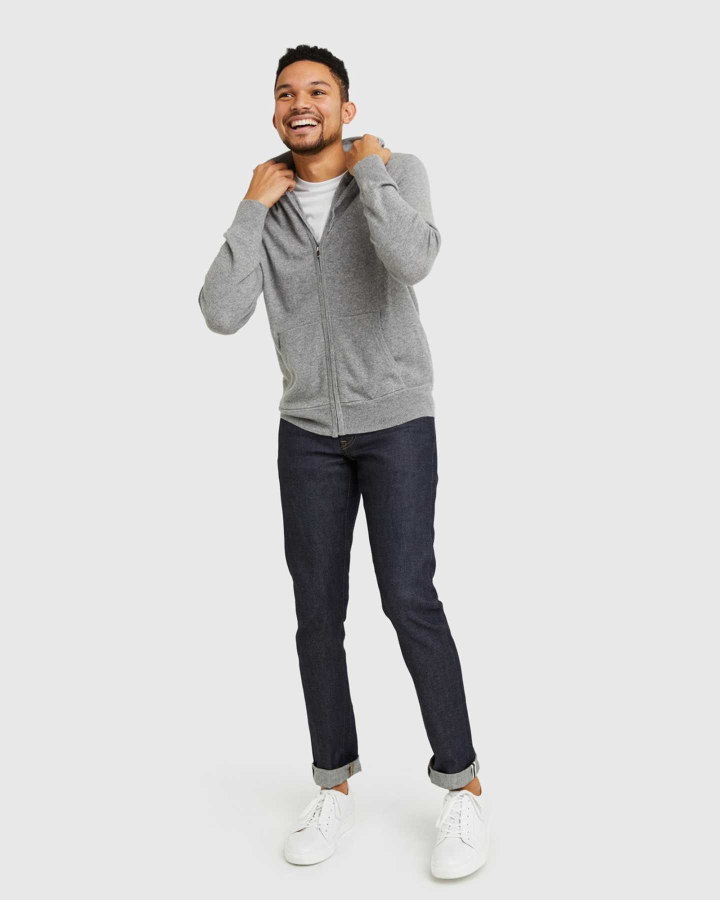 mens cashmere zip hoodie in grey laughing