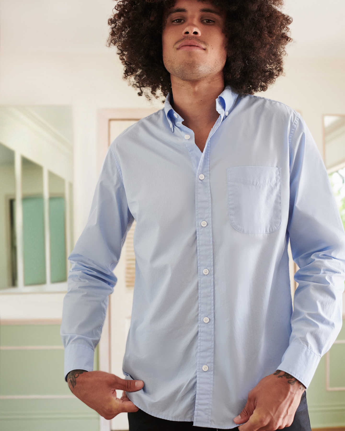 Organic Long Sleeve Stretch Poplin Shirt - Light Blue