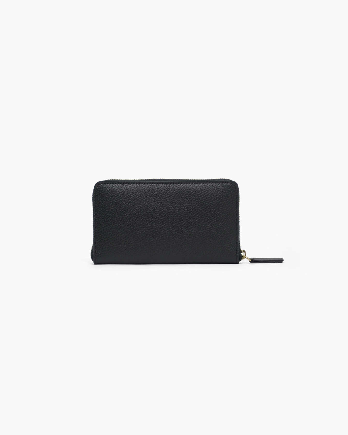 Italian Pebbled Leather Continental Wallet - Black