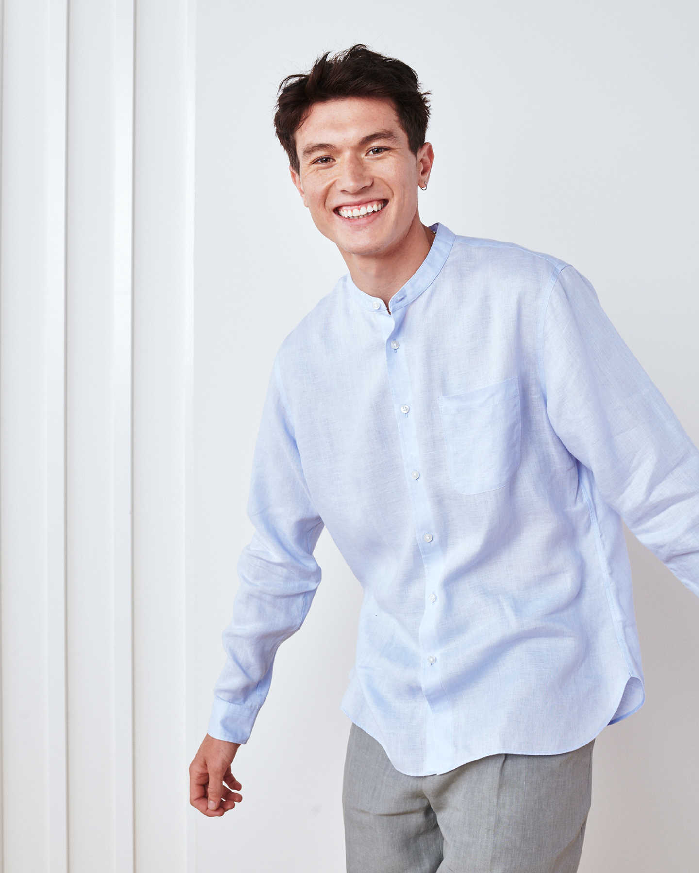 Band Collar Wrinkle-free Linen Shirt - Light Blue - 1