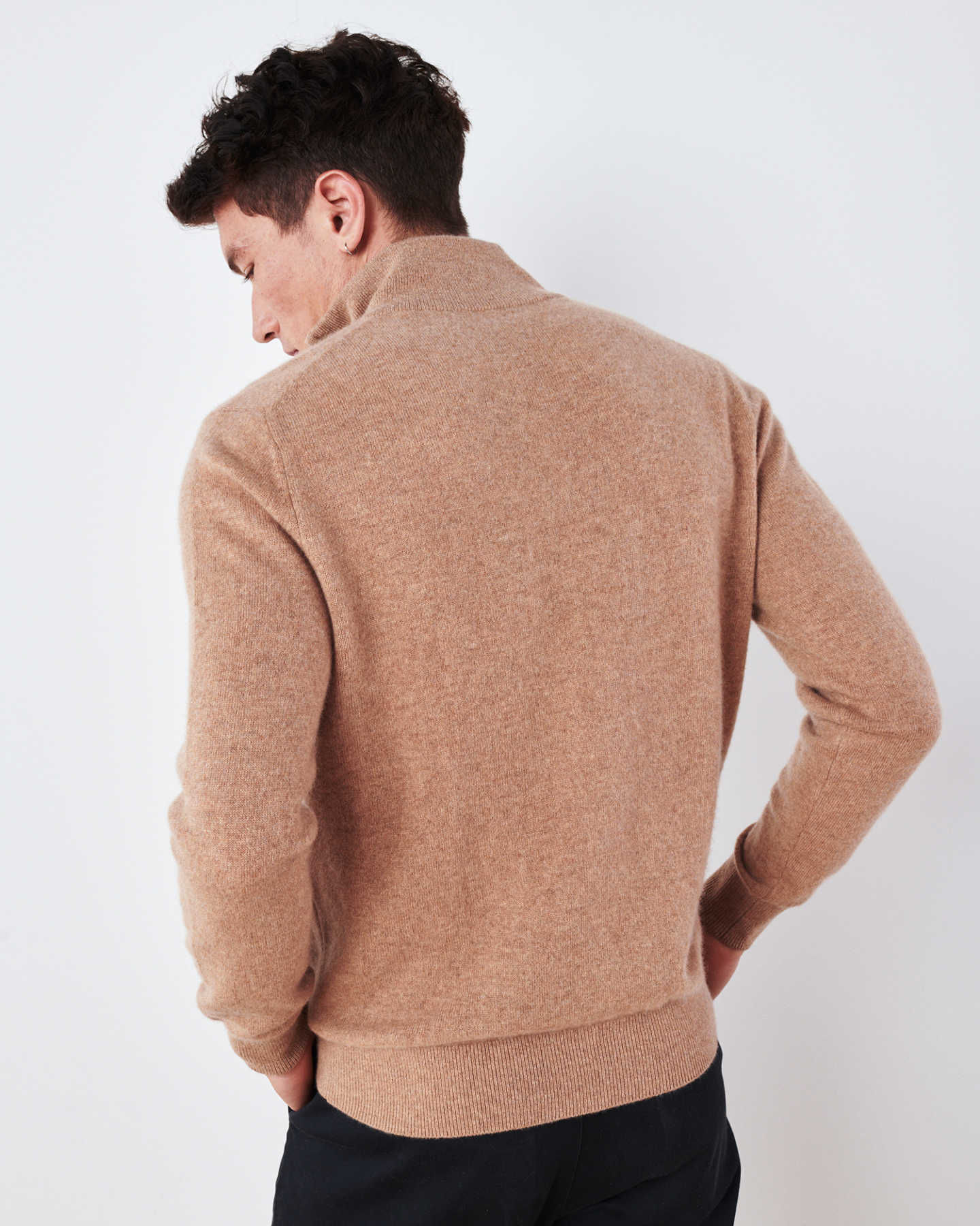 Man wearing camel cashmere quarter zip sweater back