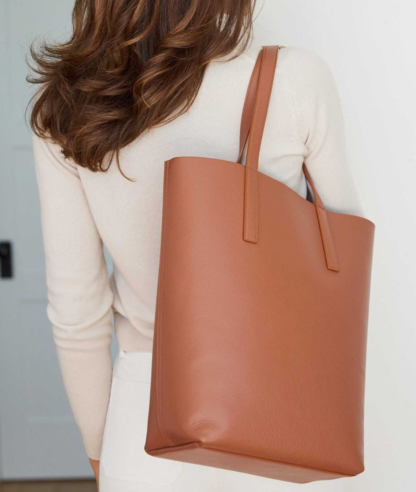 Tall Italian Leather Tote - Cognac - 6